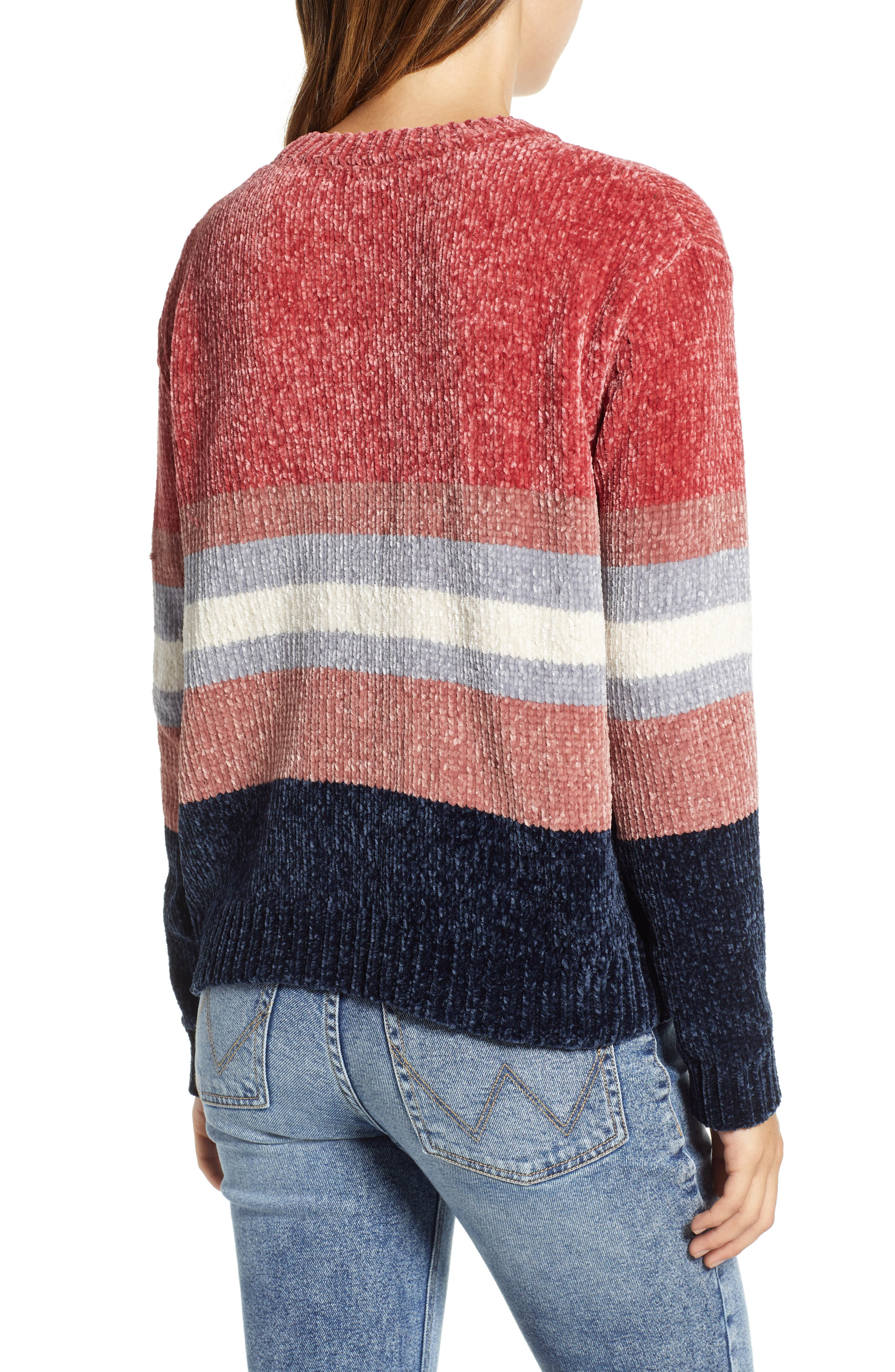 Stripe Chenille Sweater,                             Alternate thumbnail 2, color,                             PINK