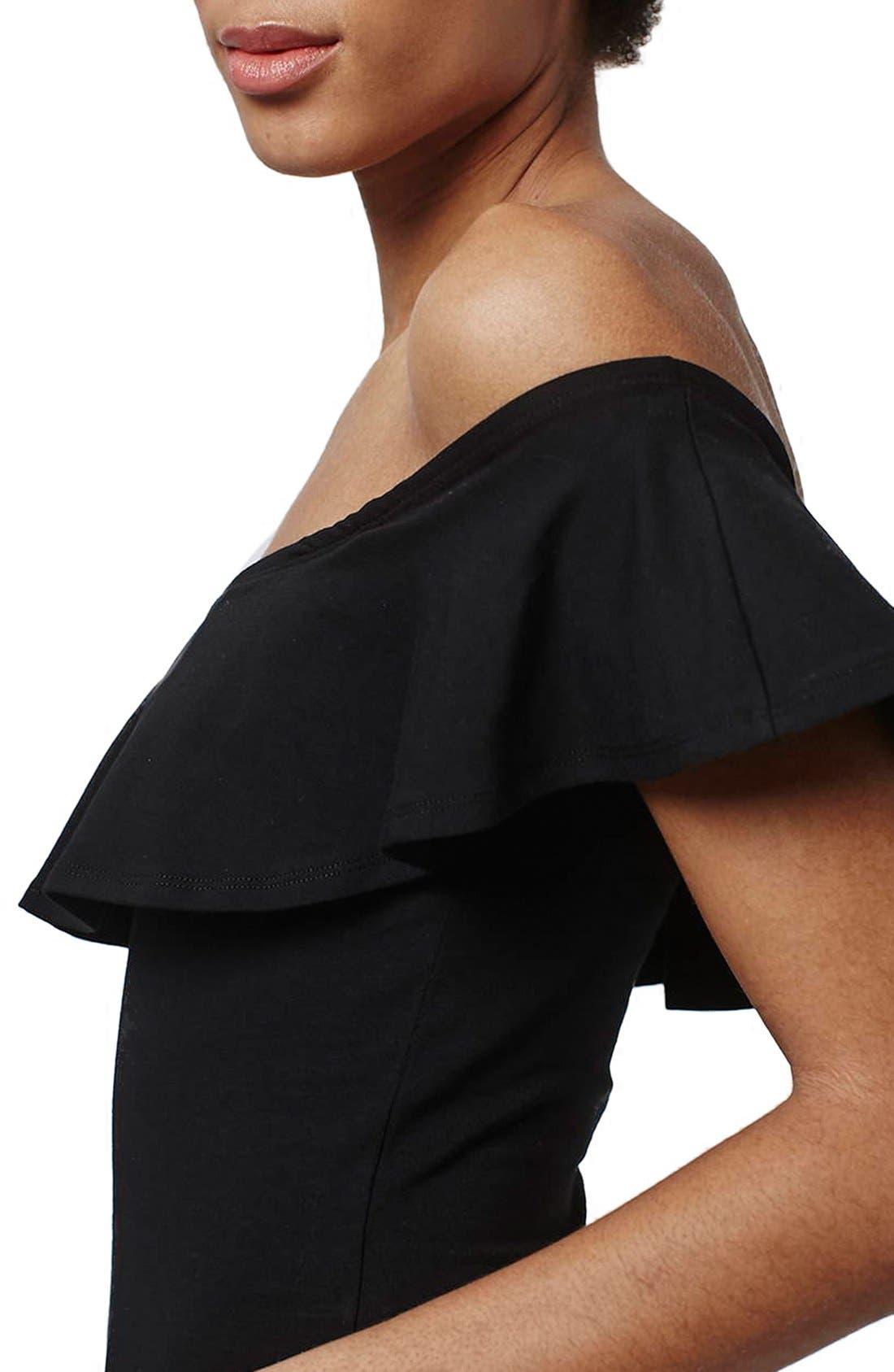 Ruffle Off the Shoulder Bodysuit,                             Alternate thumbnail 2, color,                             001