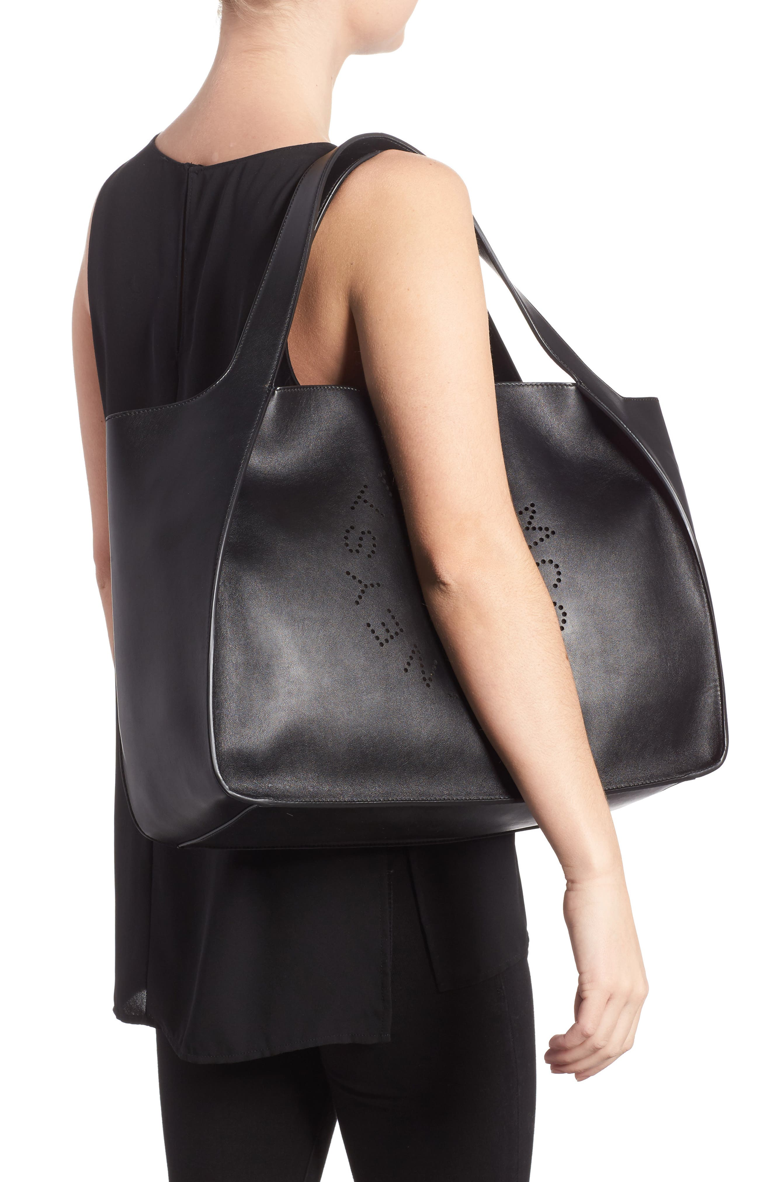 Medium Perforated Logo Faux Leather Tote,                             Alternate thumbnail 2, color,                             BLACK