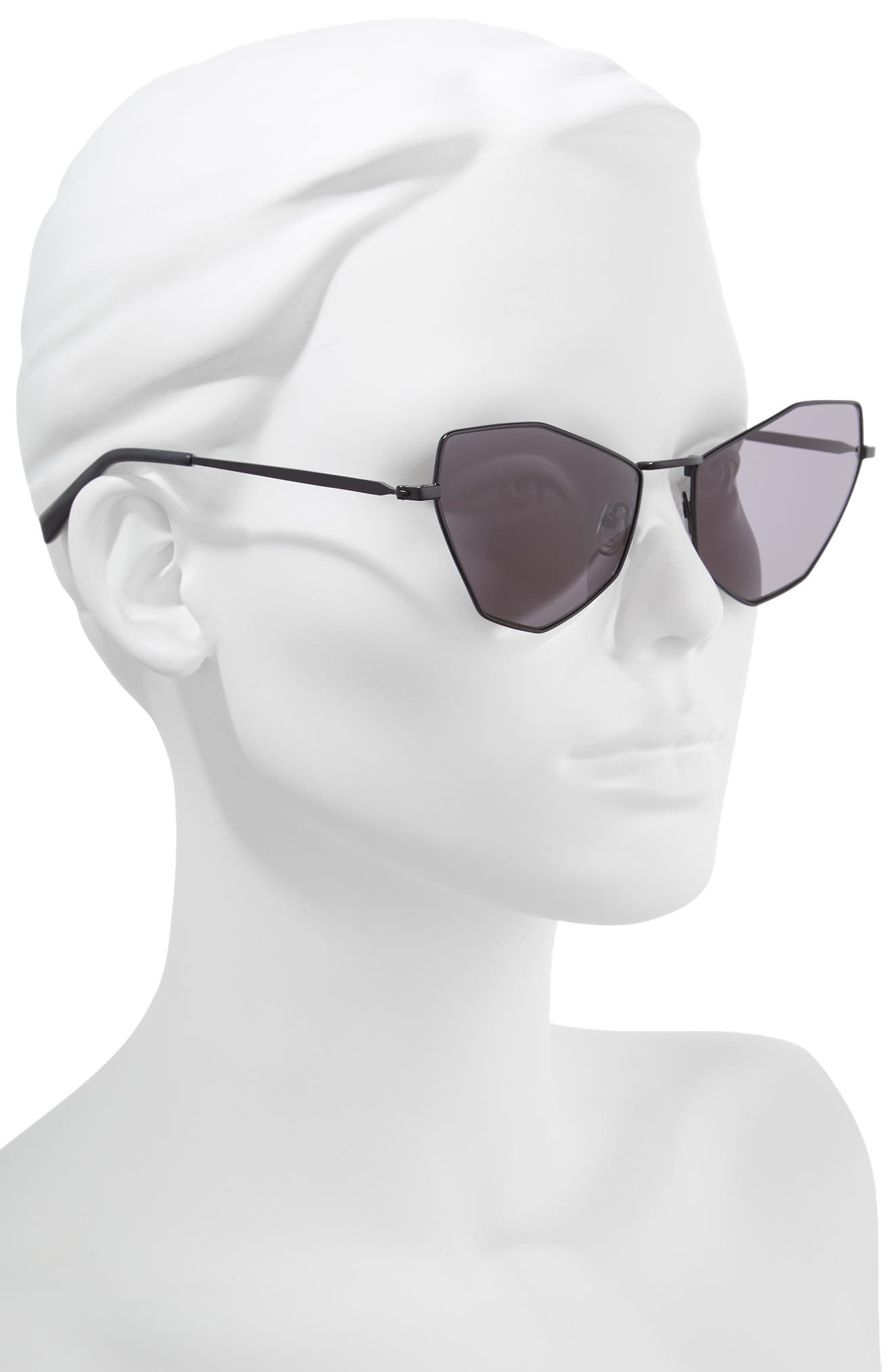 Liara 57mm Cat Eye Sunglasses,                             Alternate thumbnail 2, color,                             BLACK METAL/ SOLID SMOKE