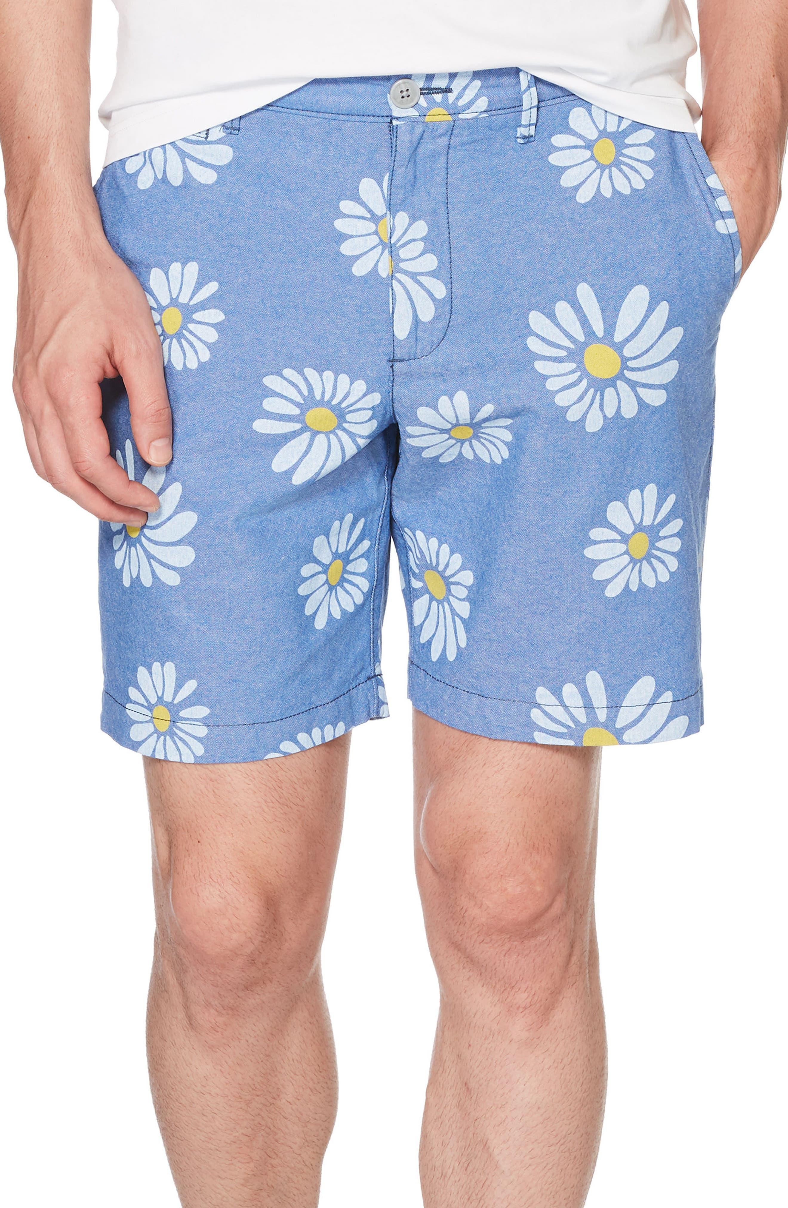 P55 Exploded Daisy Print Oxford Shorts,                         Main,                         color, TURKISH SEA