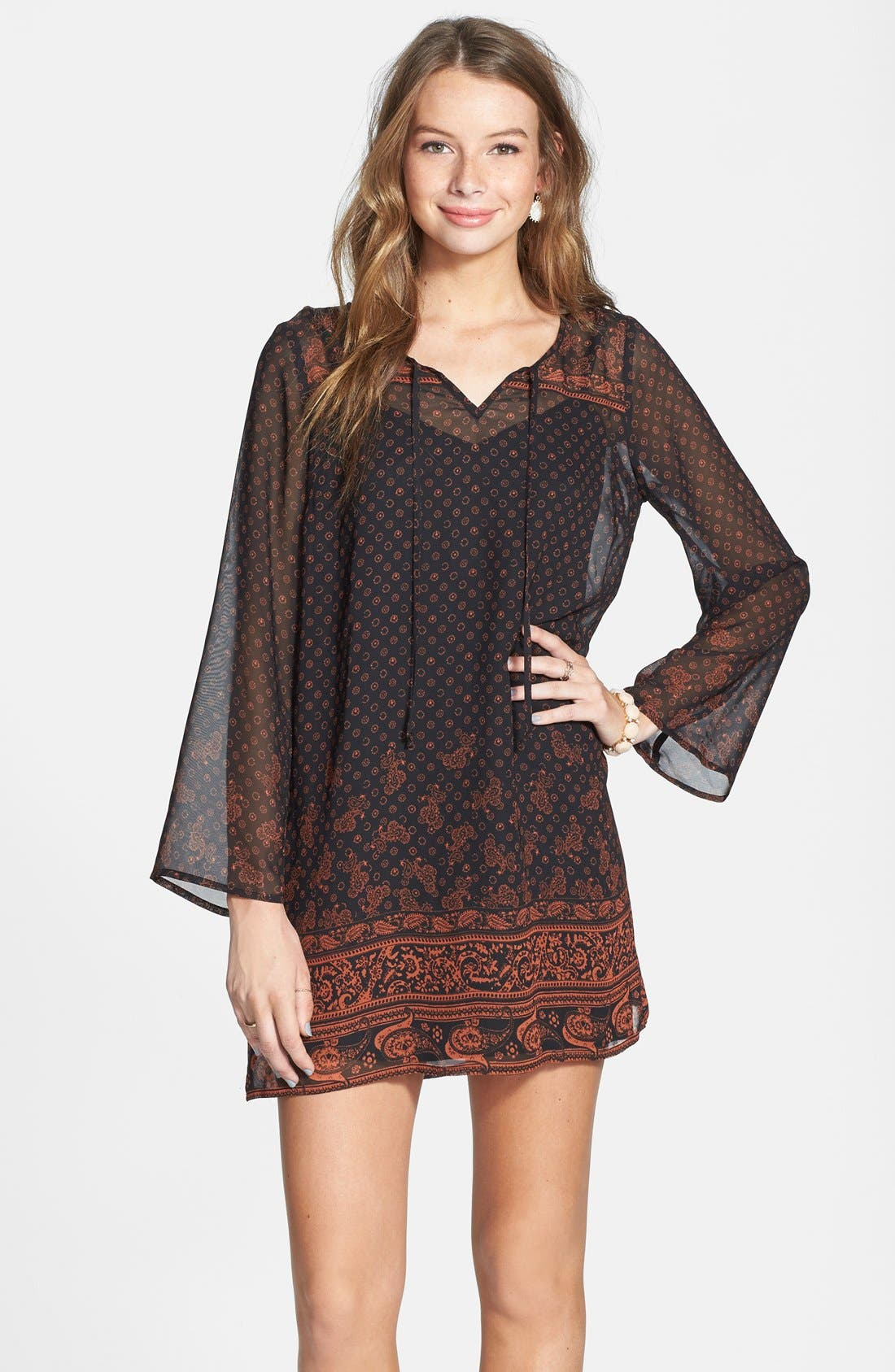 Be Bop Long Sleeve Border Print Dress,                             Main thumbnail 1, color,                             229