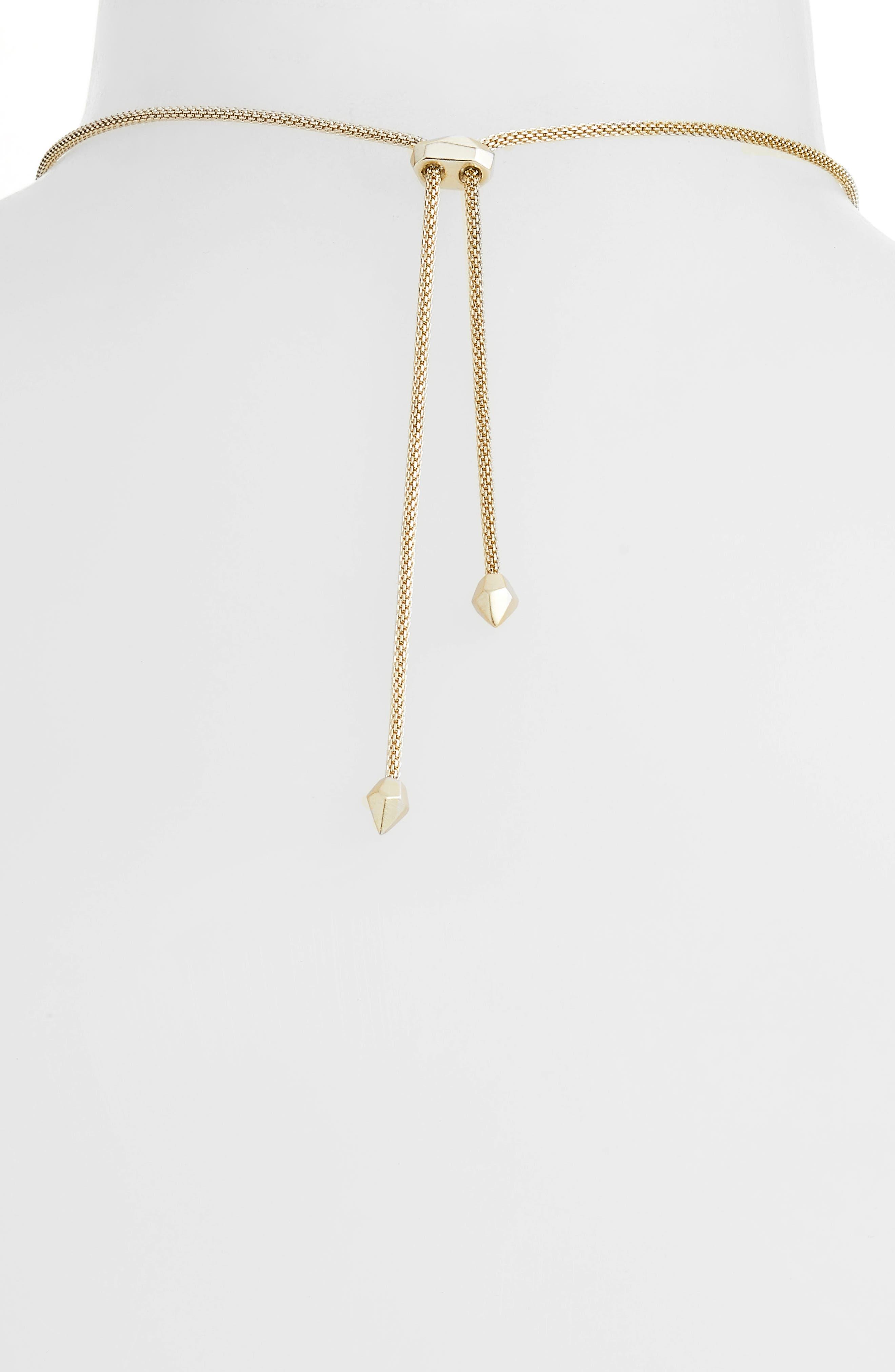 Inez Pendant Necklace,                             Alternate thumbnail 4, color,                             BLACK/ GOLD