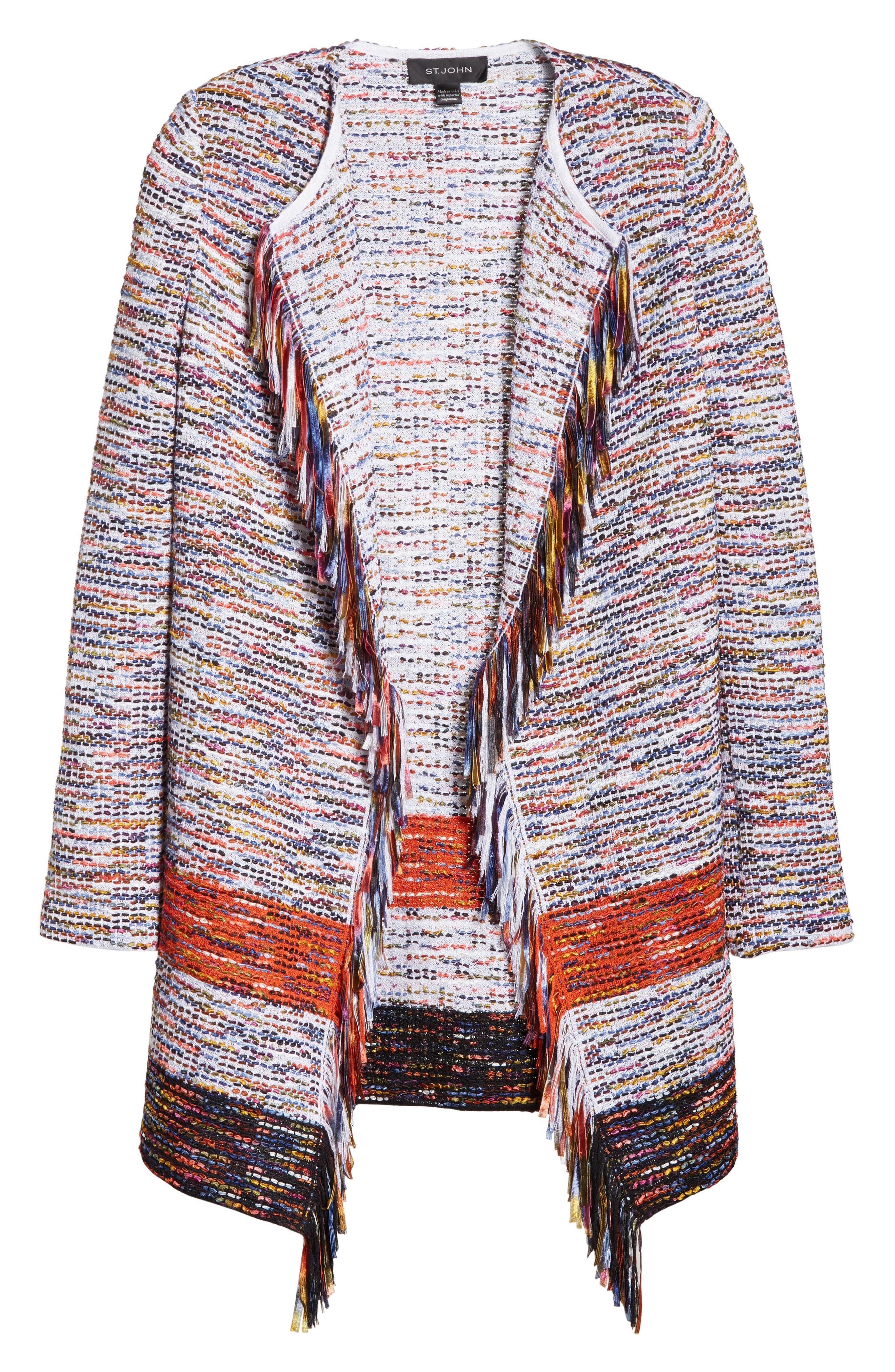 Vertical Fringe Multi Tweed Knit Waterfall Cardigan,                             Alternate thumbnail 6, color,                             SIENNA MULTI