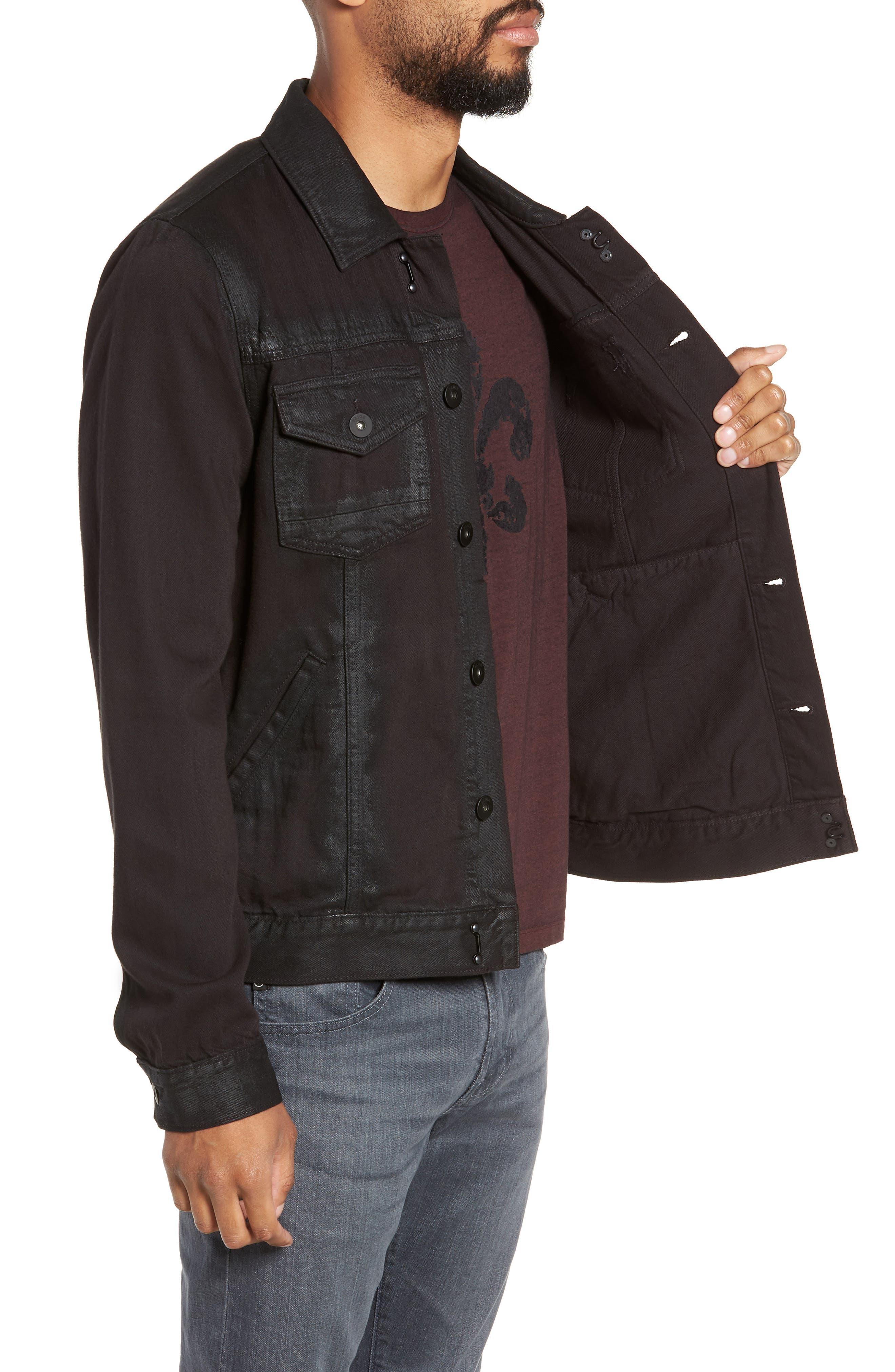 Scout Denim Jacket,                             Alternate thumbnail 3, color,                             VIVID BLACK COATED
