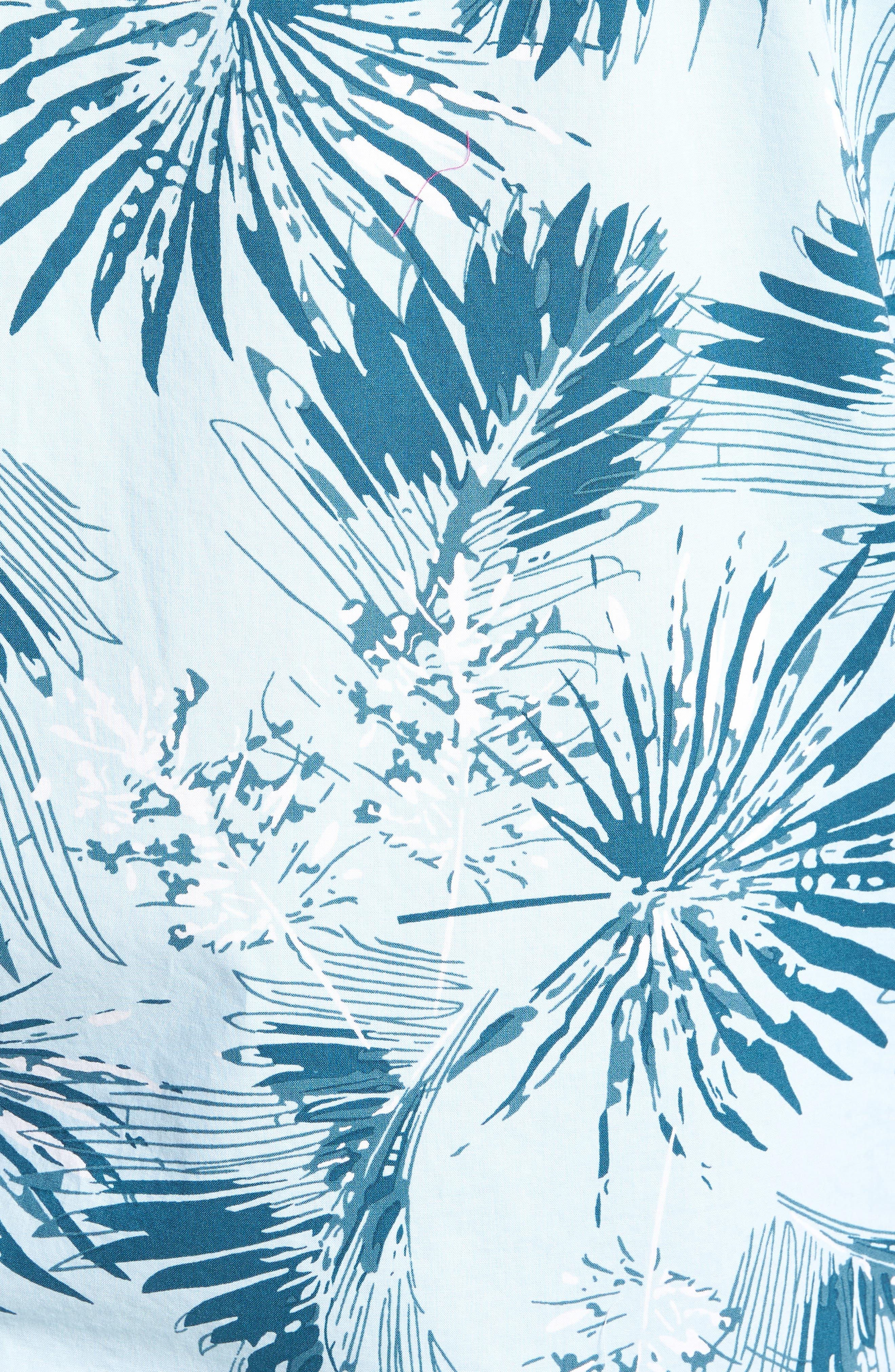 Trim Fit Palm Print Camp Shirt,                             Alternate thumbnail 5, color,                             BLUE CLOUD FAN PALMS