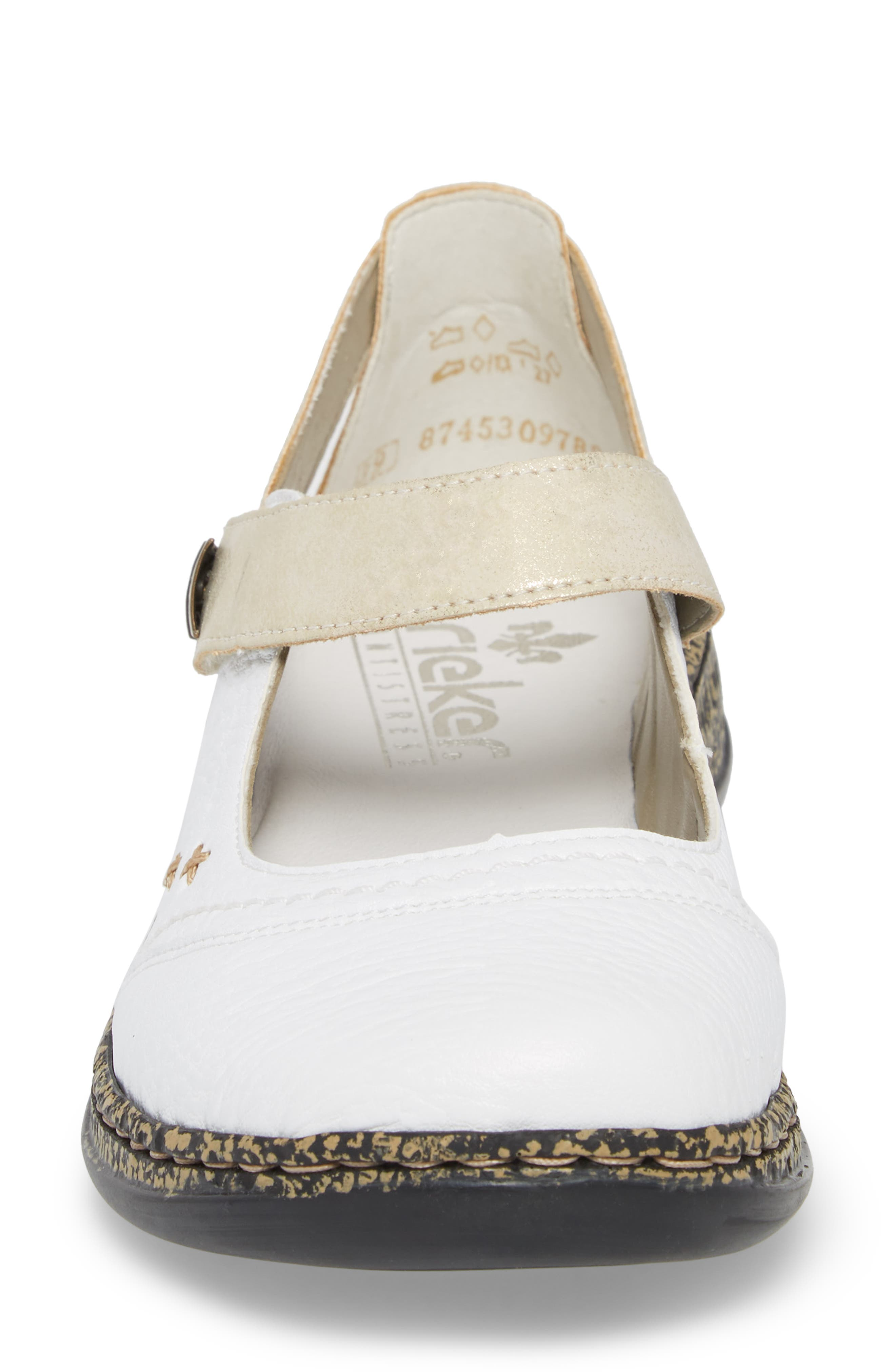 Daisy 78 Mary Jane Flat,                             Alternate thumbnail 4, color,                             WHITE/ GOLD SYNTHETIC LEATHER