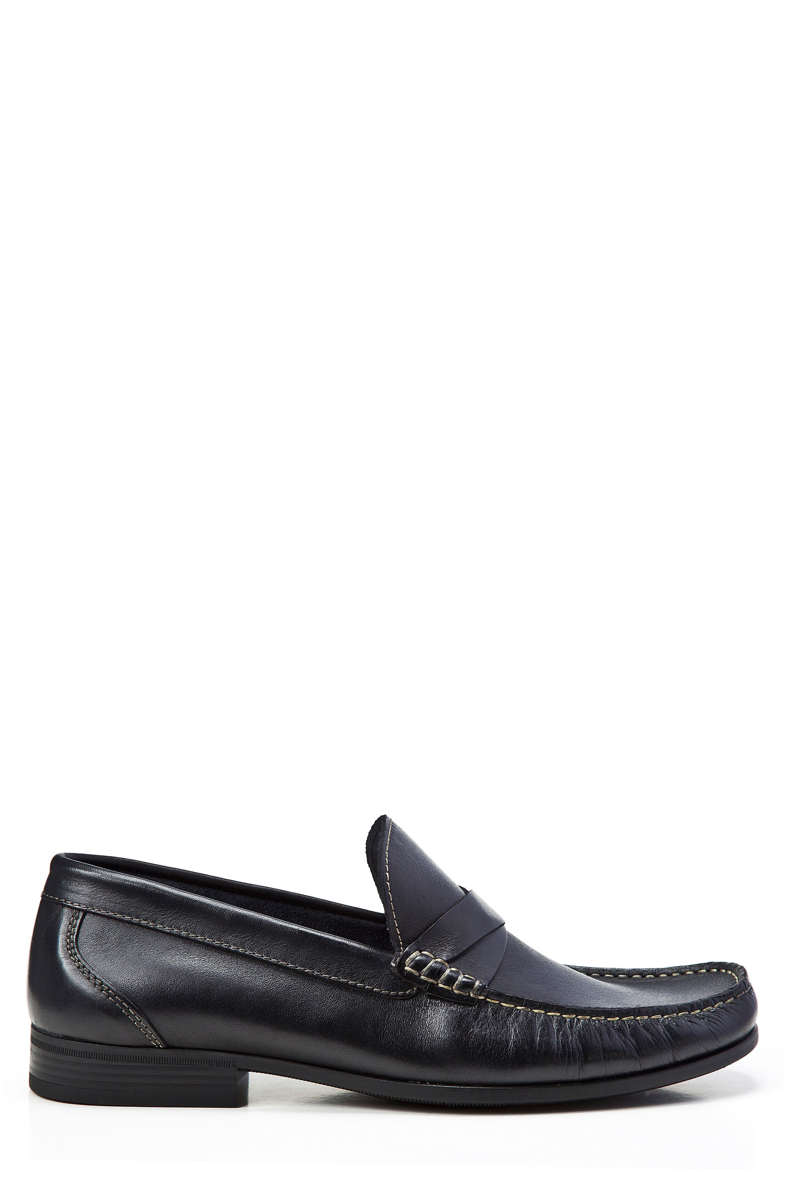 Abruzo Cross Strap Loafer,                             Alternate thumbnail 3, color,                             BLACK