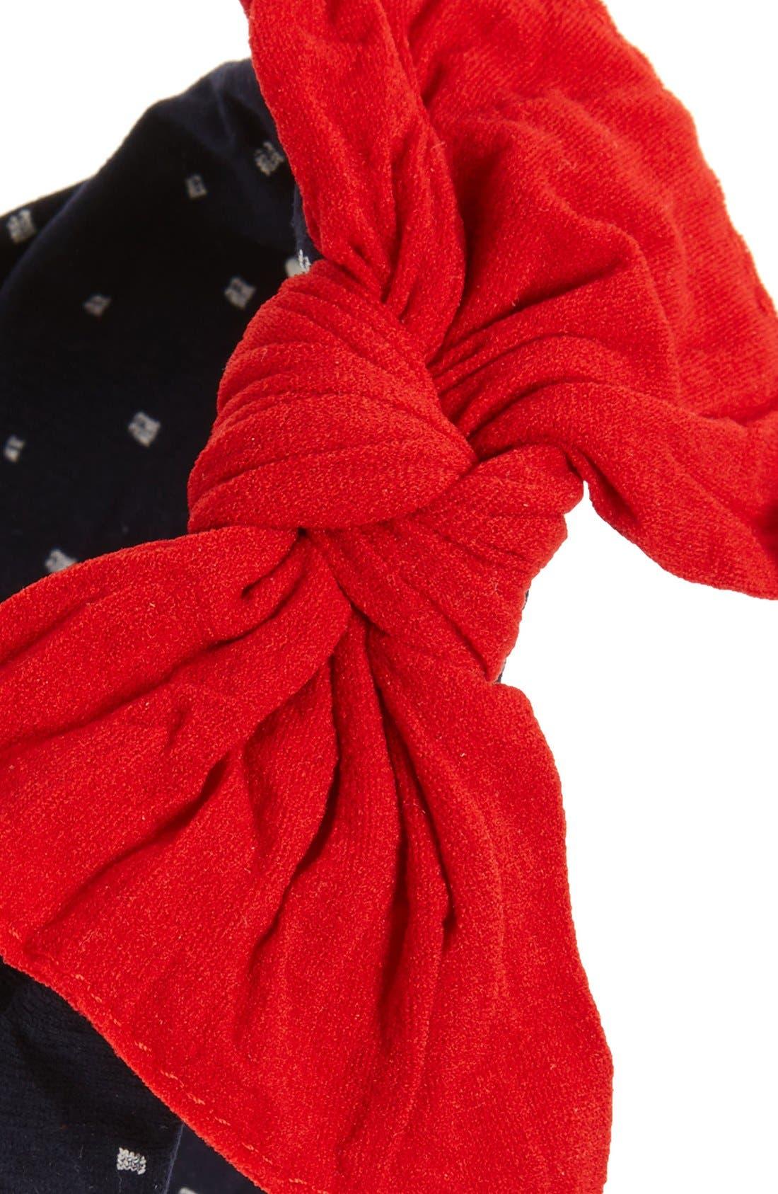Print Bow Headband,                             Alternate thumbnail 2, color,                             NAVY DOT/  CHERRY
