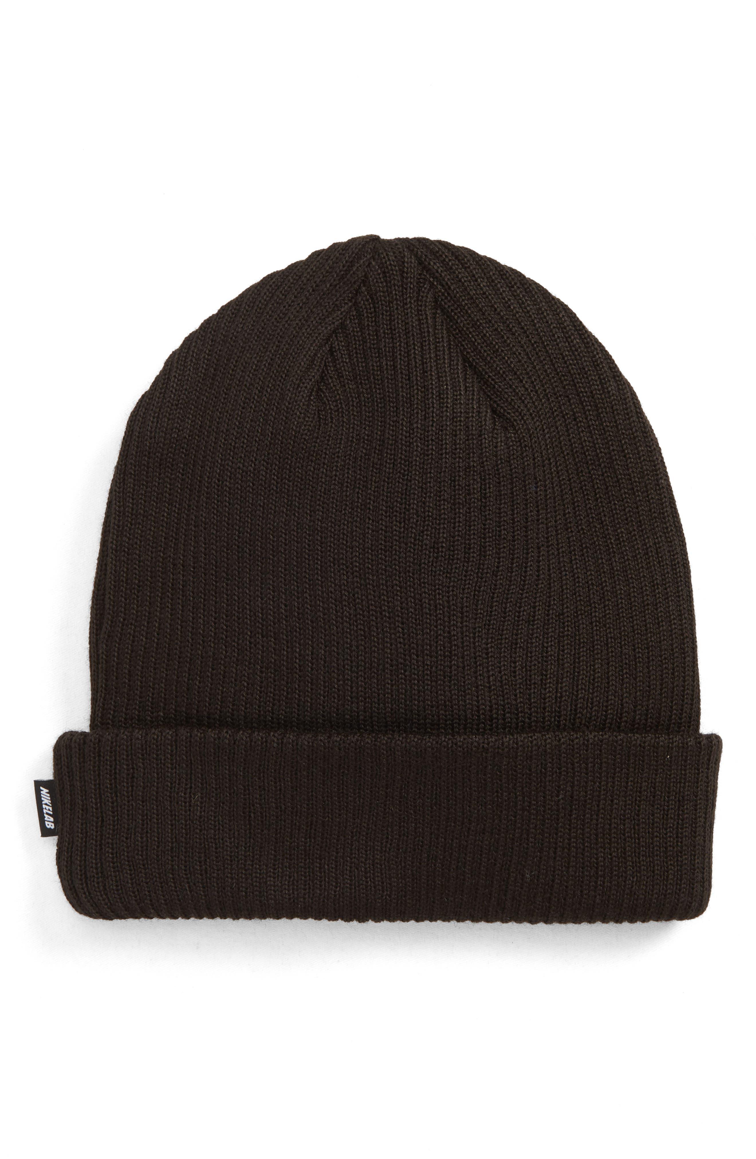 NIKE,                             NikeLab Essential Knit Beanie,                             Main thumbnail 1, color,                             010