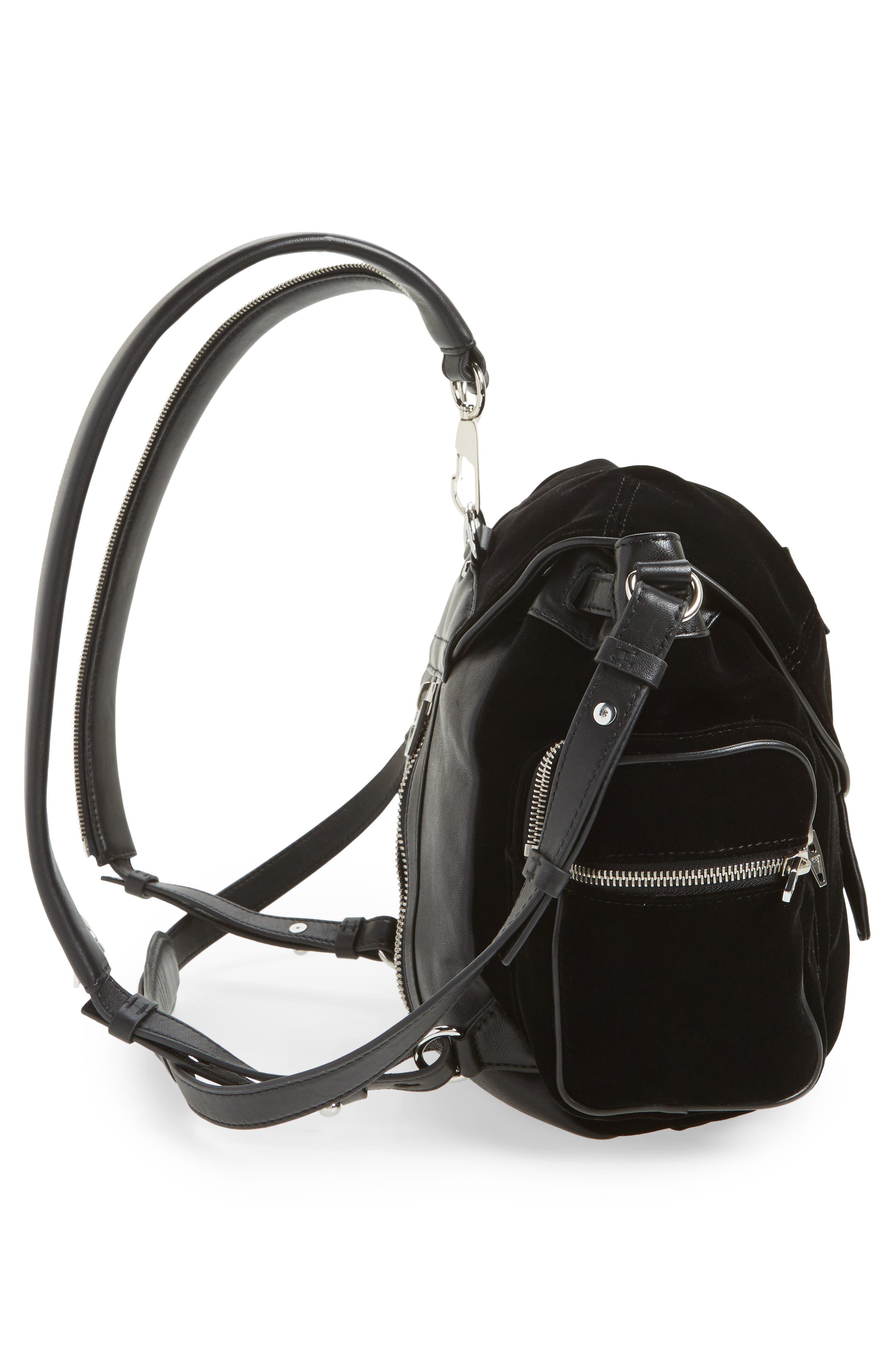 Mini Marti Velvet & Lambskin Leather Backpack,                             Alternate thumbnail 5, color,                             001