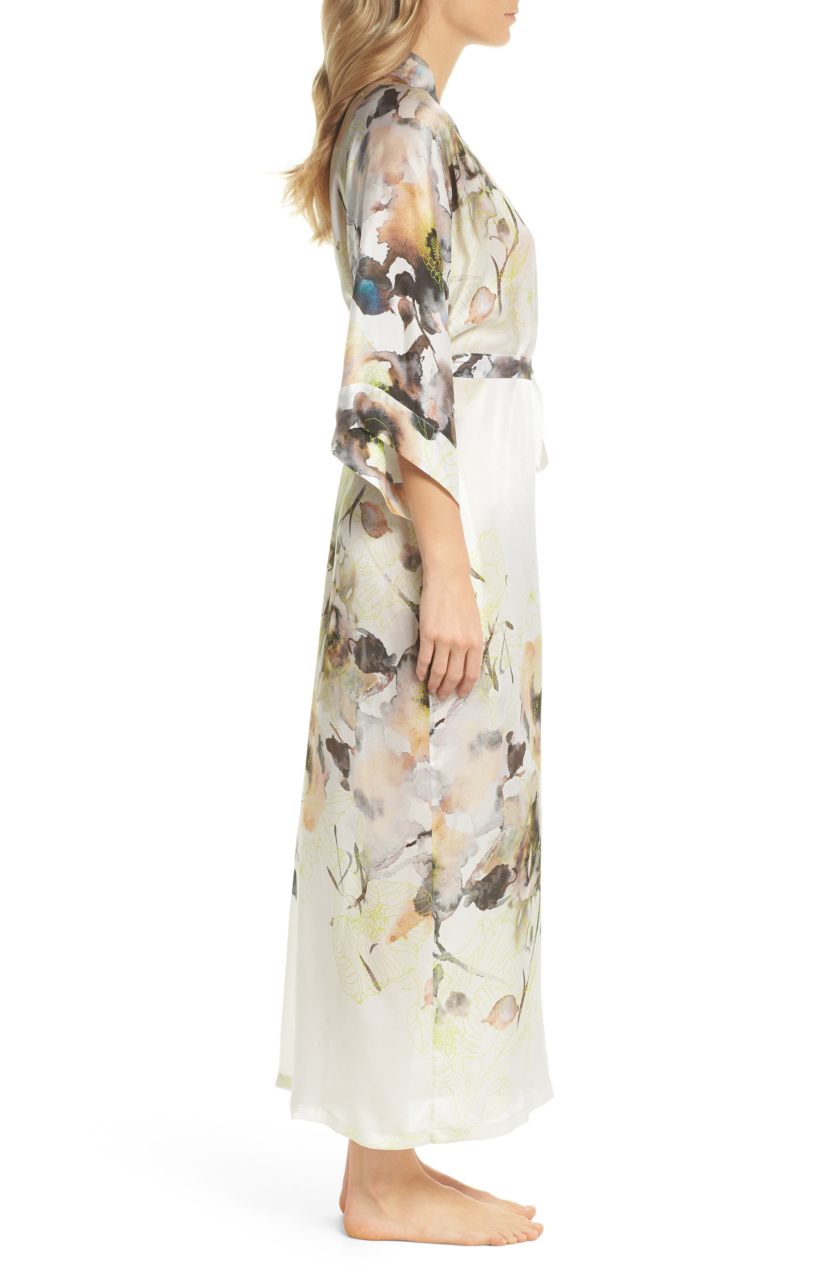 Floral Print Silk Robe,                             Alternate thumbnail 3, color,                             LIMELIGHT PRINT