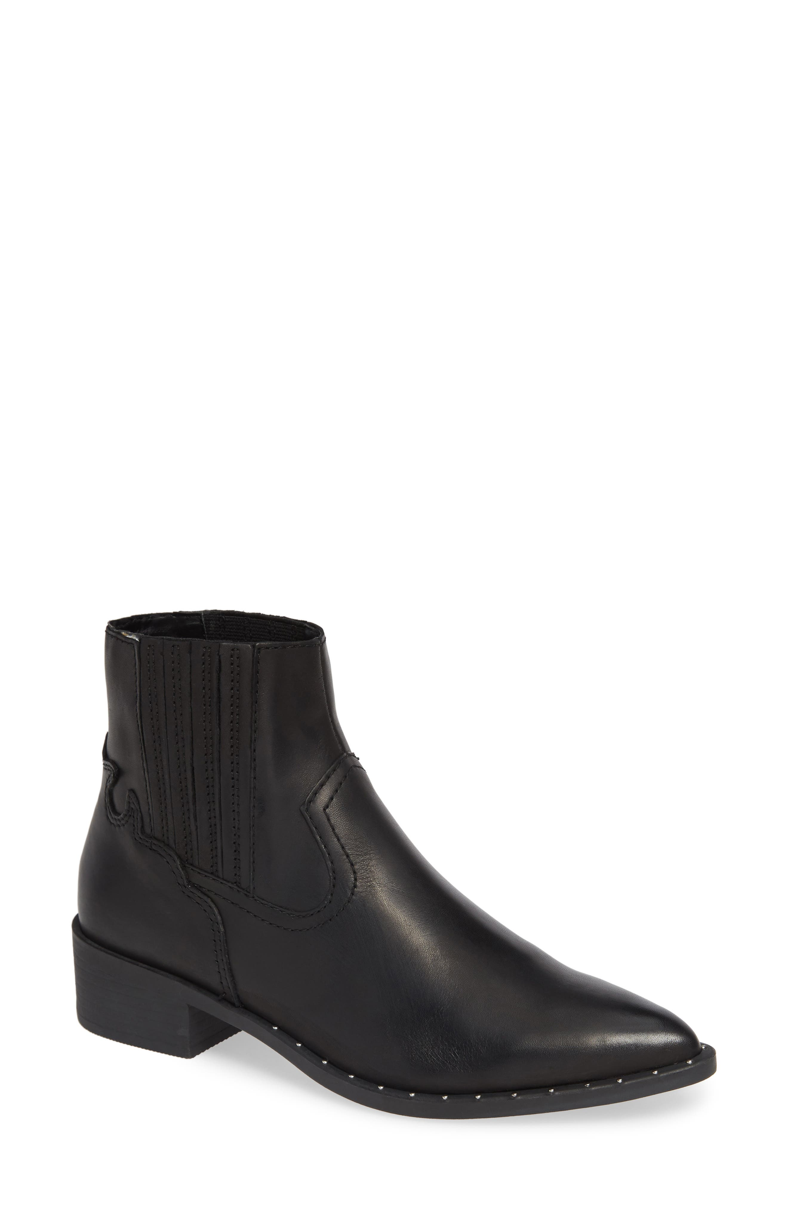 Juke Bootie,                             Main thumbnail 1, color,                             BLACK LEATHER