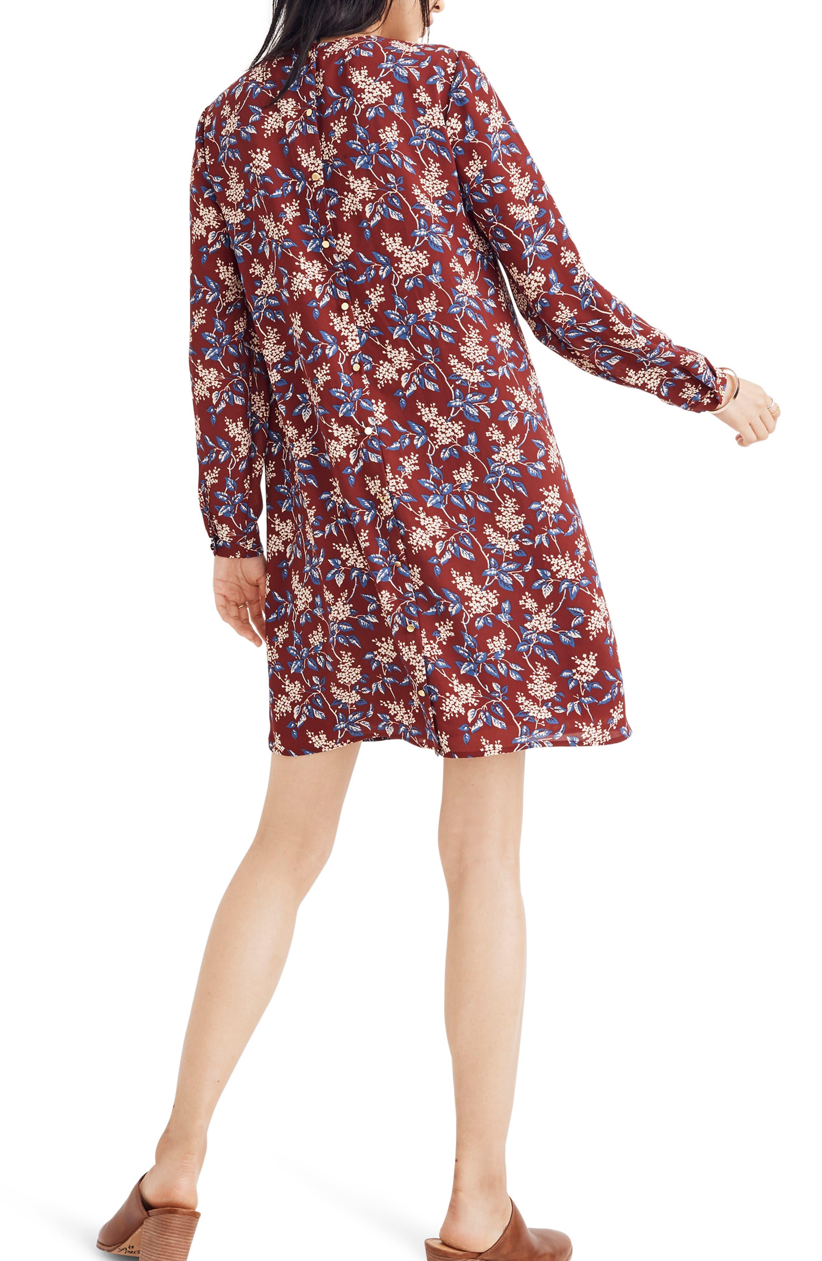 Antique Flora Button Back Dress,                             Alternate thumbnail 2, color,                             DUSTY BURGUNDY