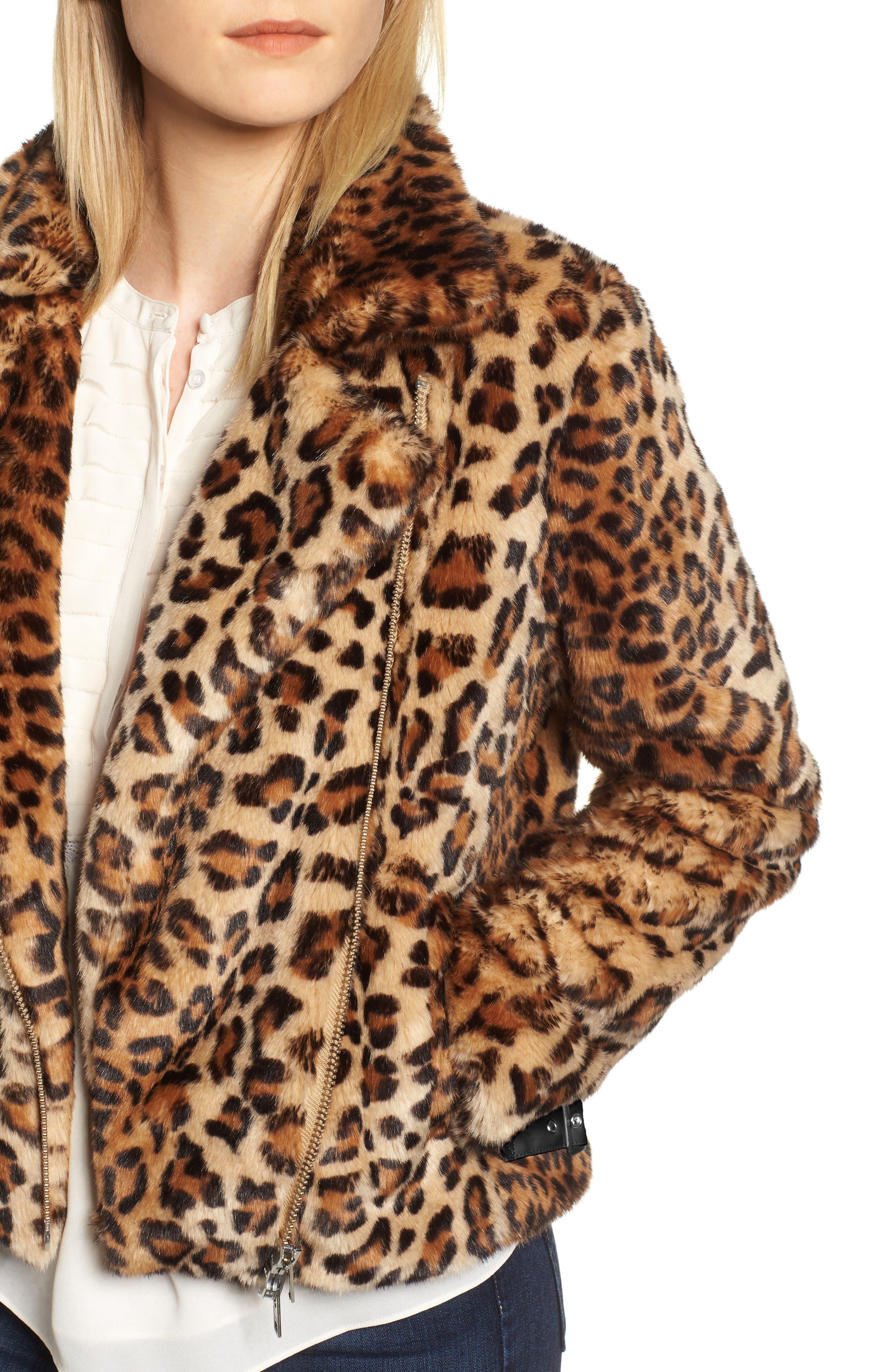 Faux Fur Moto Jacket,                             Alternate thumbnail 4, color,                             LEOPARD MULTI