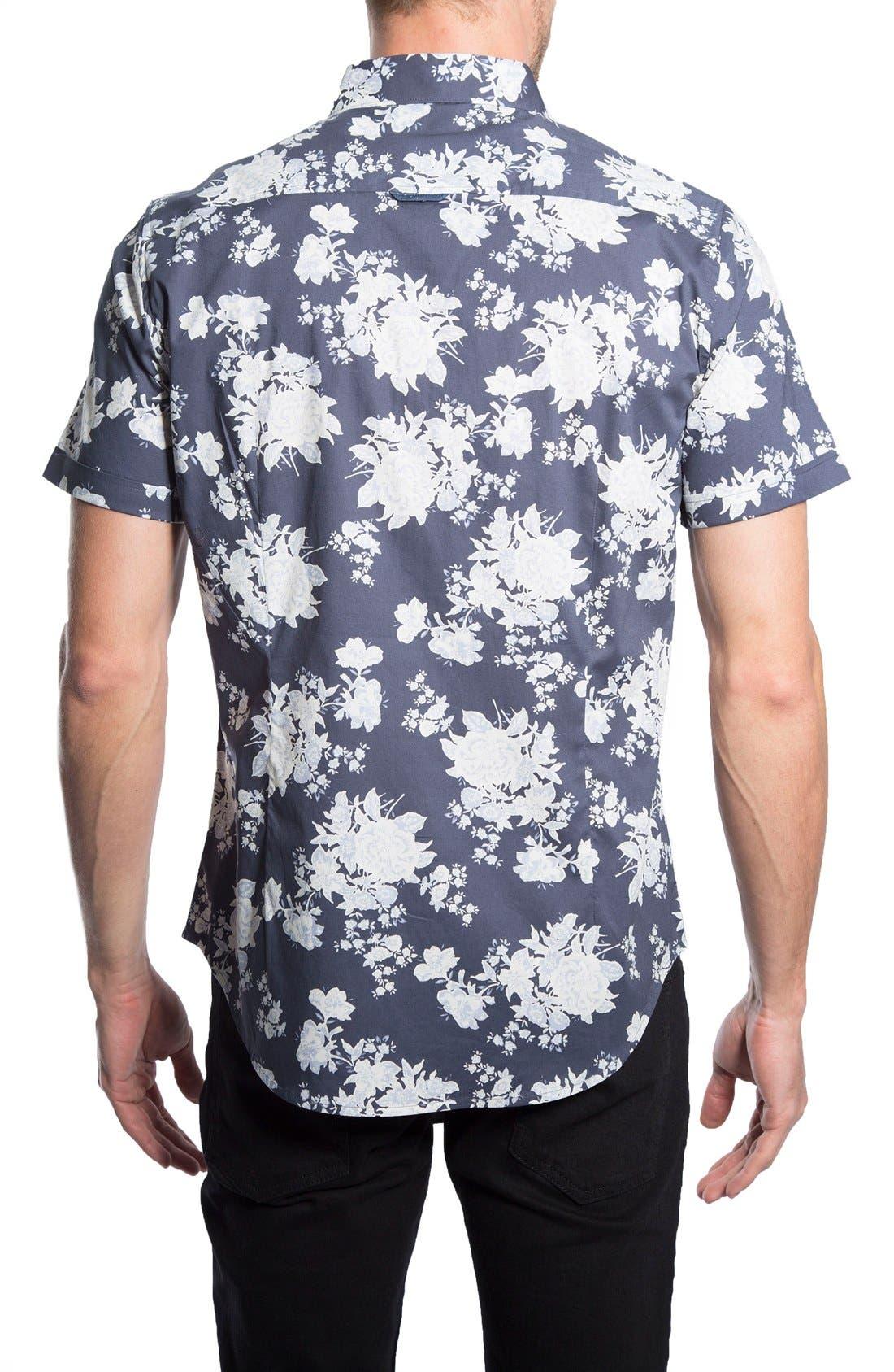 'Better Place' Trim Fit Floral Short Sleeve Woven Shirt,                             Alternate thumbnail 2, color,                             410