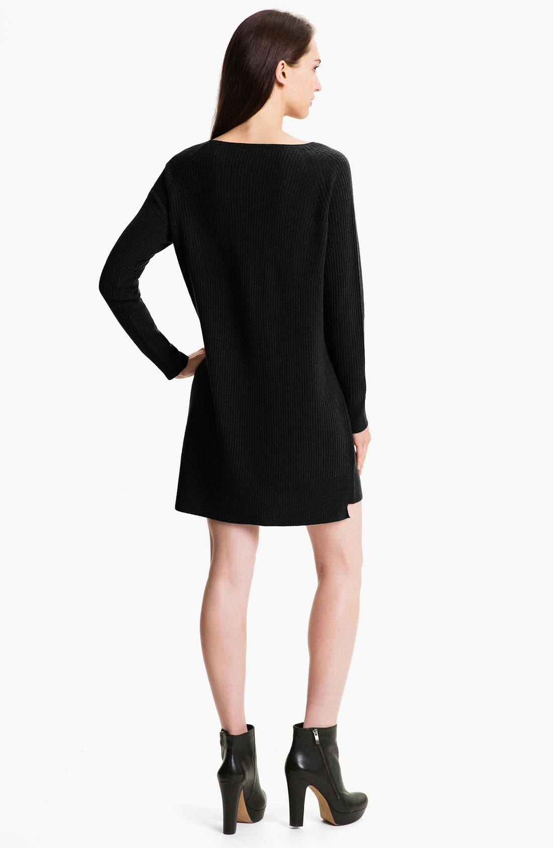 VINCE,                             Ribbed Sweater Dress,                             Alternate thumbnail 2, color,                             001