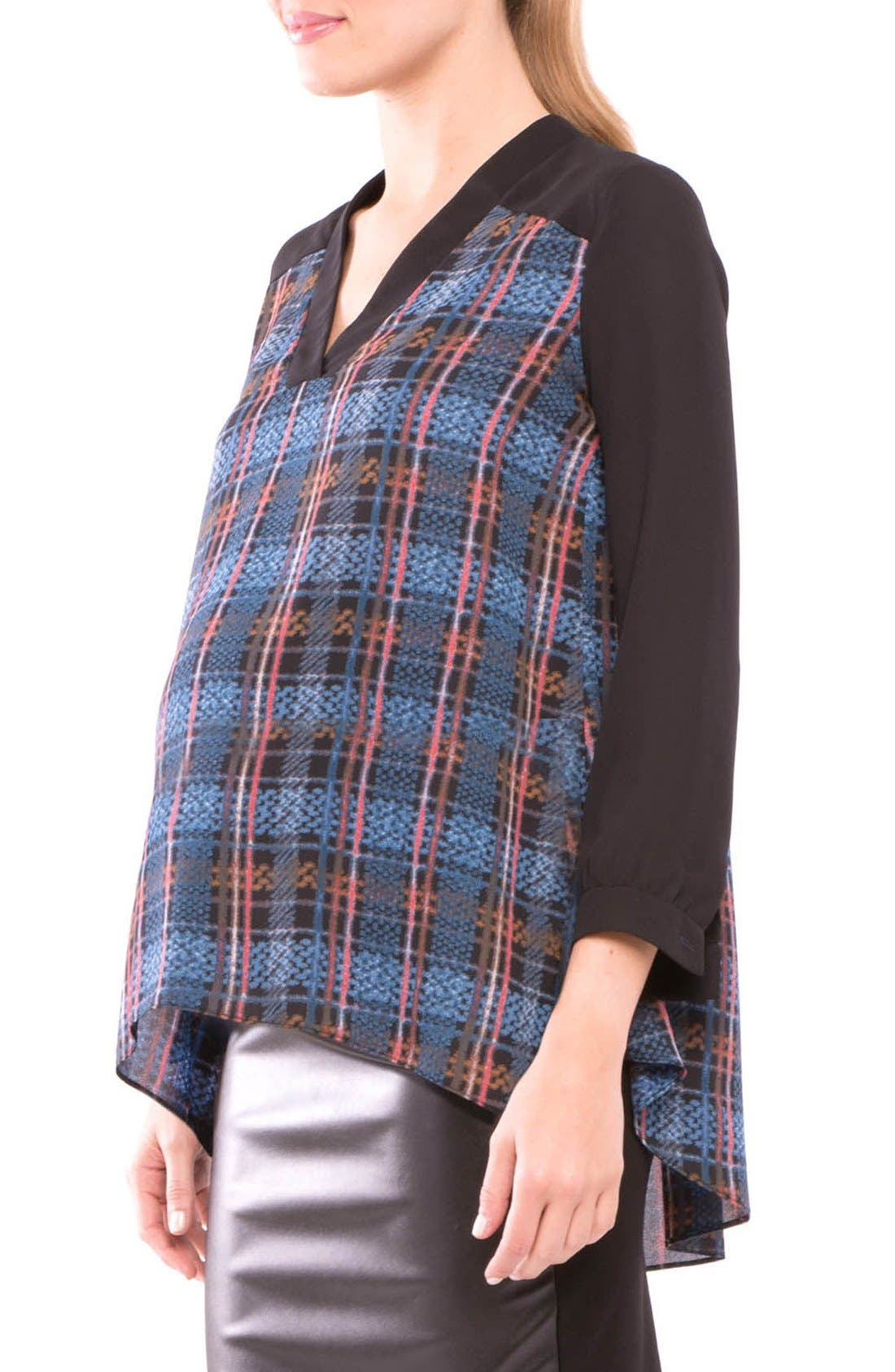 Plaid Maternity Top,                             Main thumbnail 1, color,                             BLACK/ BLUE