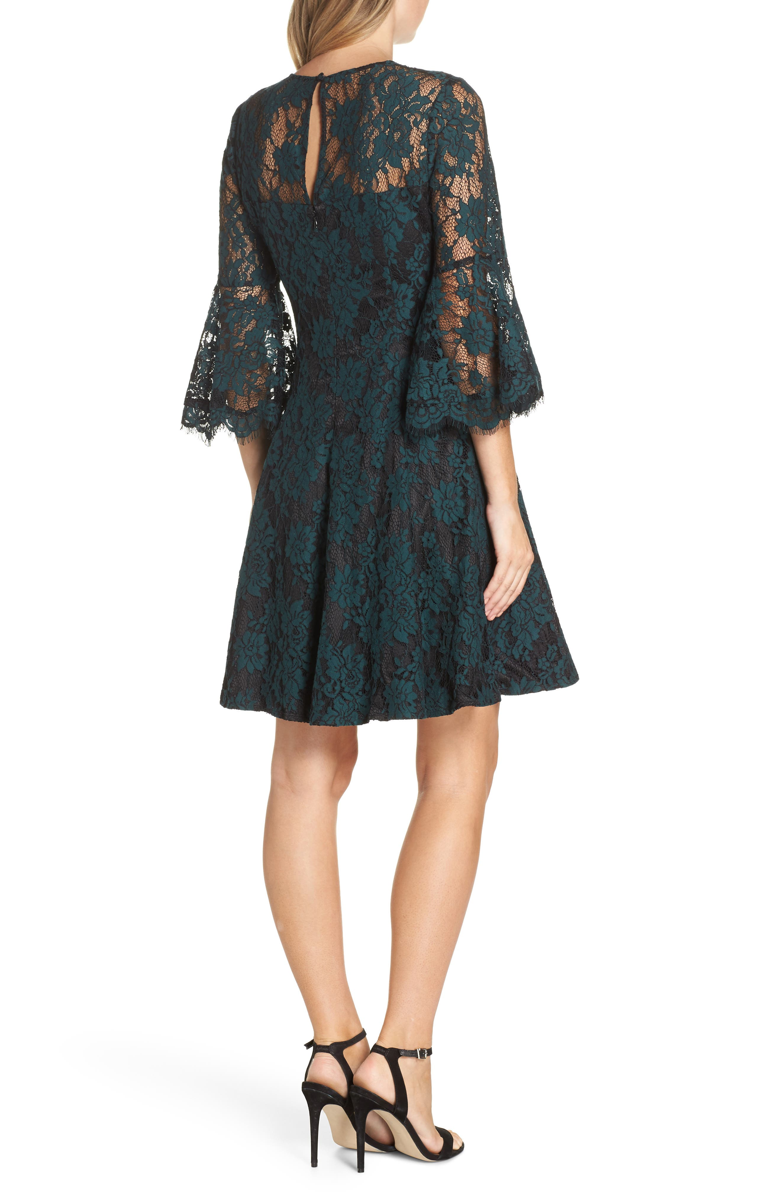 Bell Sleeve Lace Dress,                             Alternate thumbnail 2, color,                             GREEN
