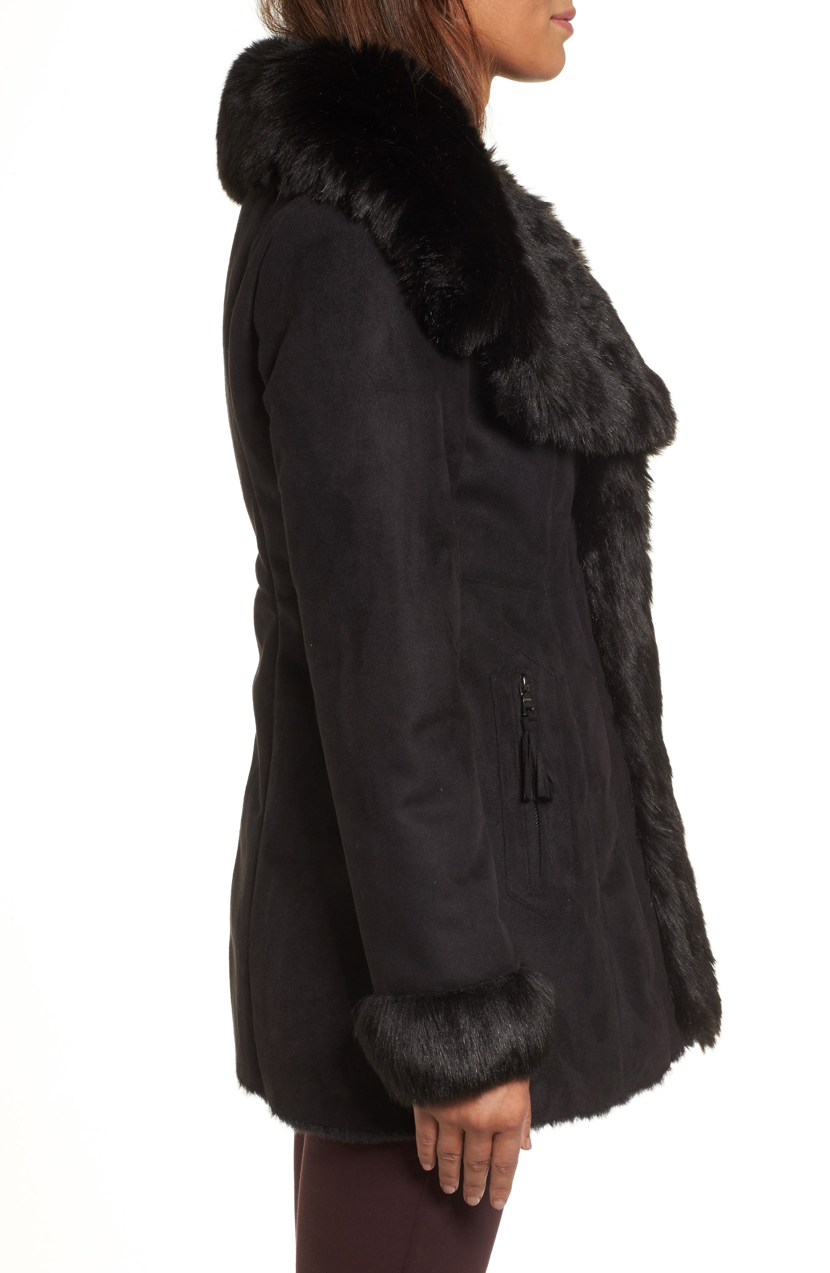 Faux Shearling Coat,                             Alternate thumbnail 3, color,                             001