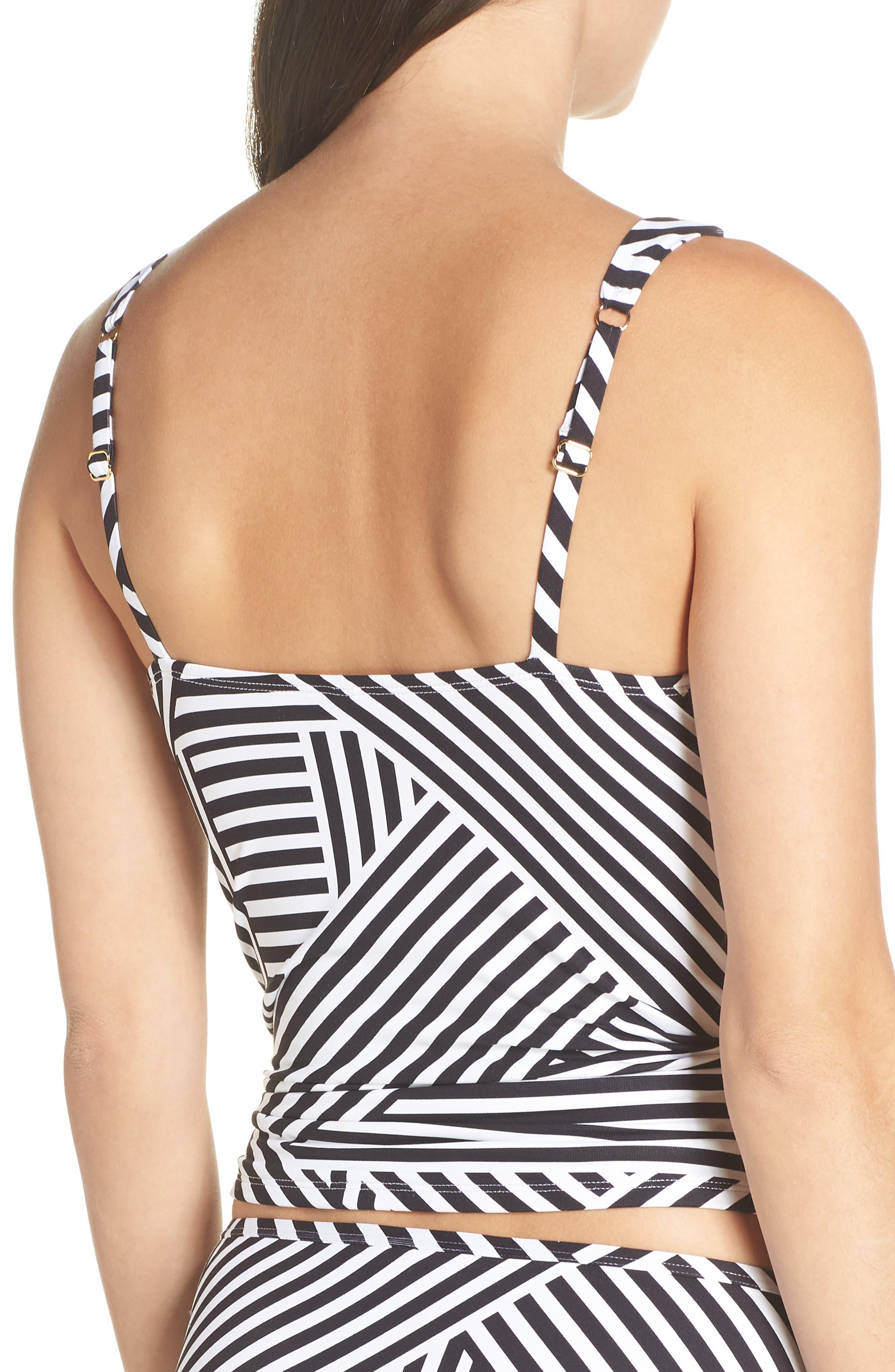 TOMMY BAHAMA,                             Fractured Stripe Tankini Top,                             Alternate thumbnail 2, color,                             BLACK/ WHITE