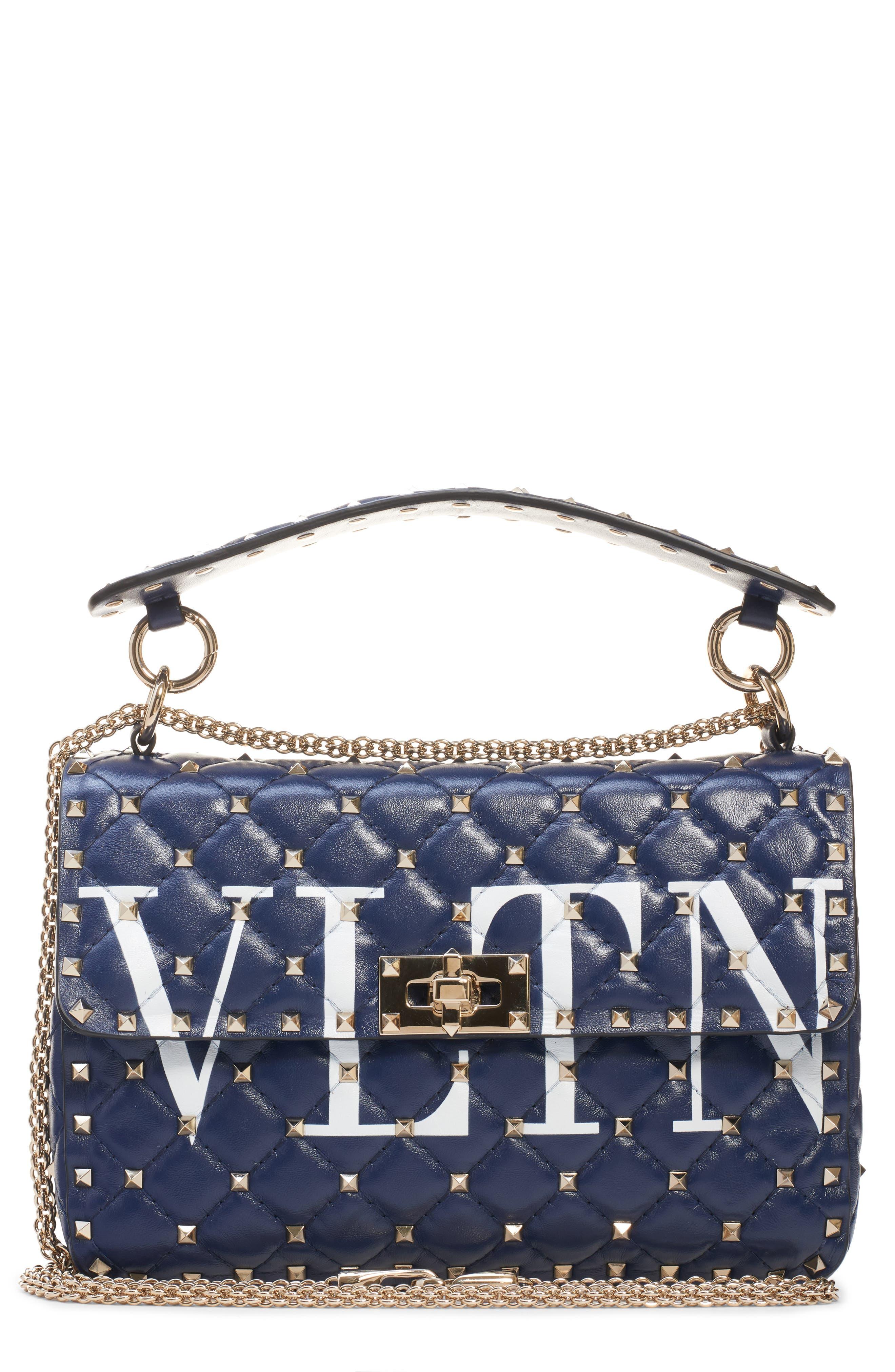 Medium Spike.It VLTN Logo Leather Shoulder Bag,                             Main thumbnail 1, color,                             PURE BLUE/ BIANCO OTTICO
