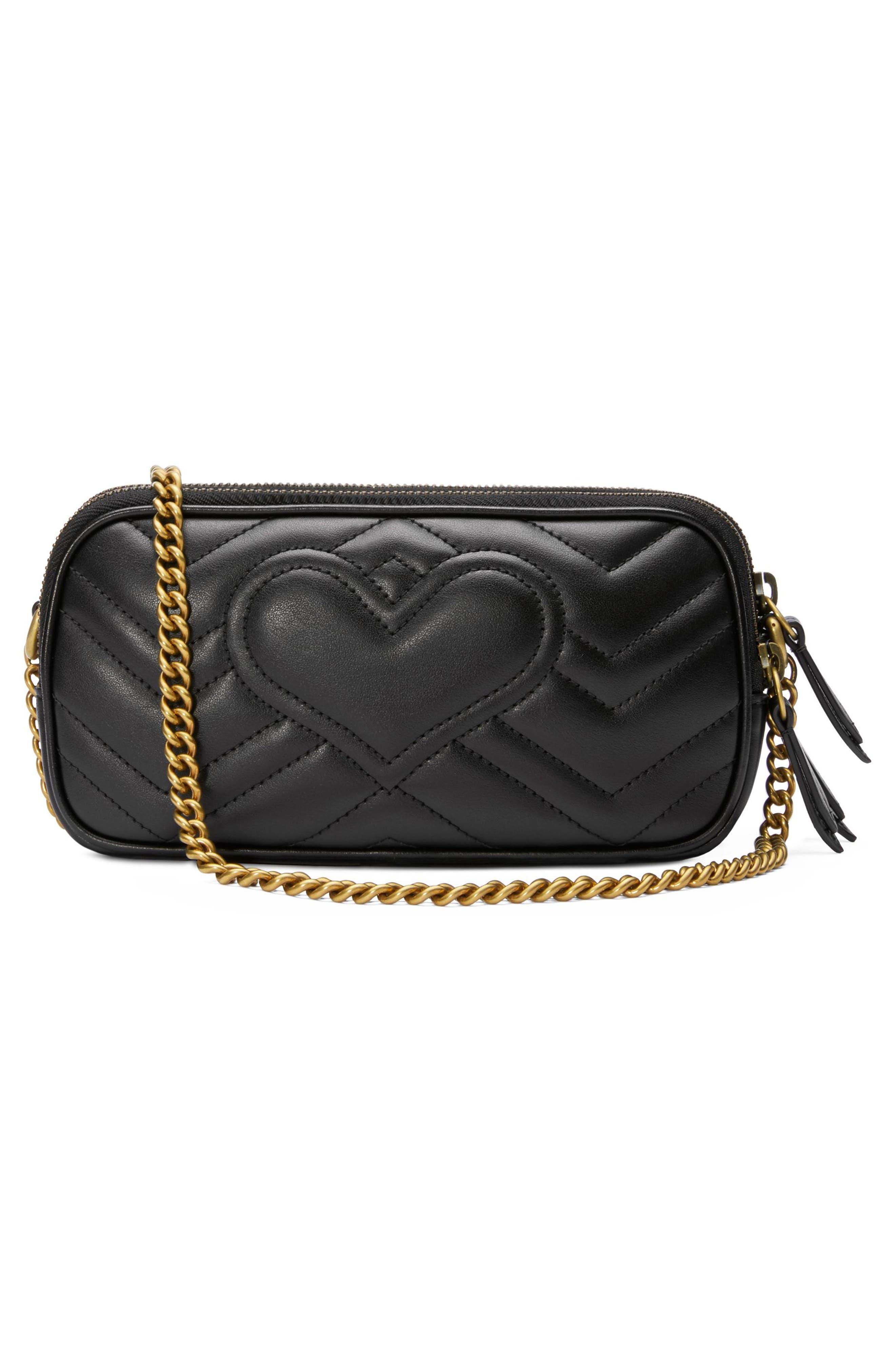 Marmont 2.0 Leather Crossbody Bag,                             Alternate thumbnail 2, color,                             NERO
