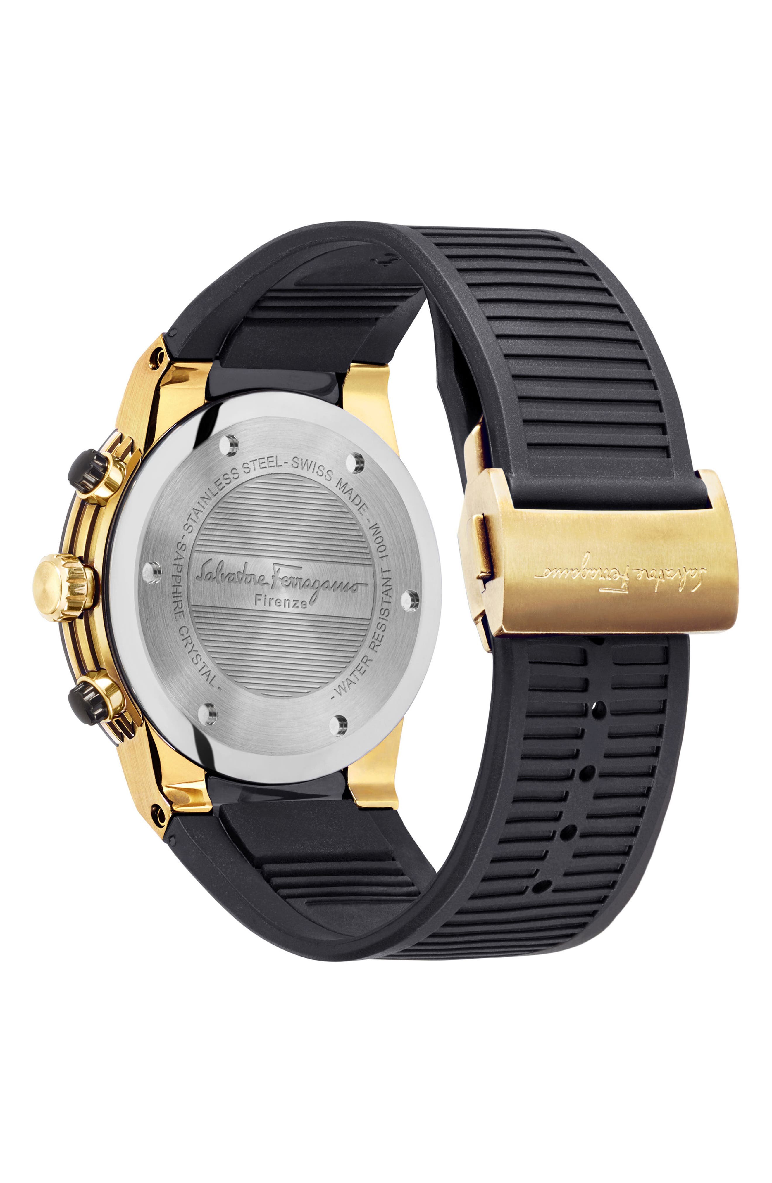 F-80 Chronograph Rubber Strap Watch, 44mm,                             Alternate thumbnail 2, color,                             BLACK/ GOLD
