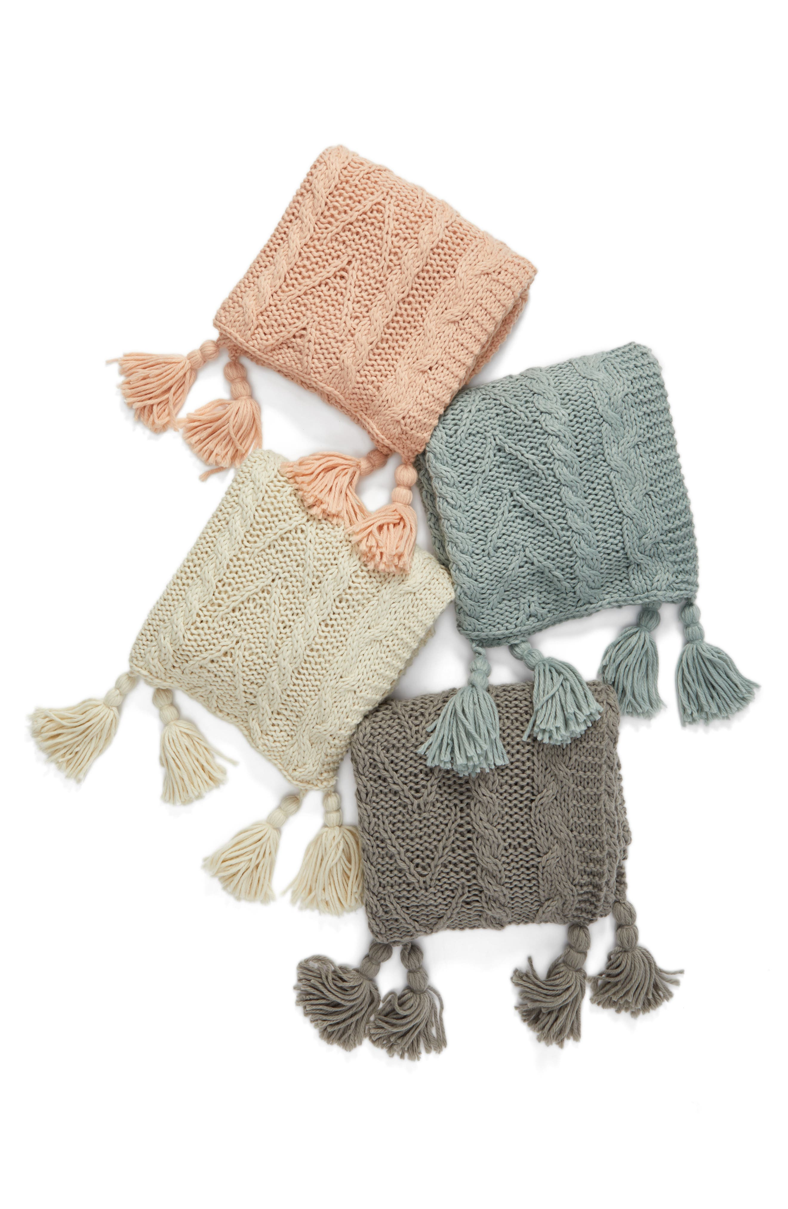 Cable Knit Tassel Throw Blanket,                             Alternate thumbnail 3, color,                             020