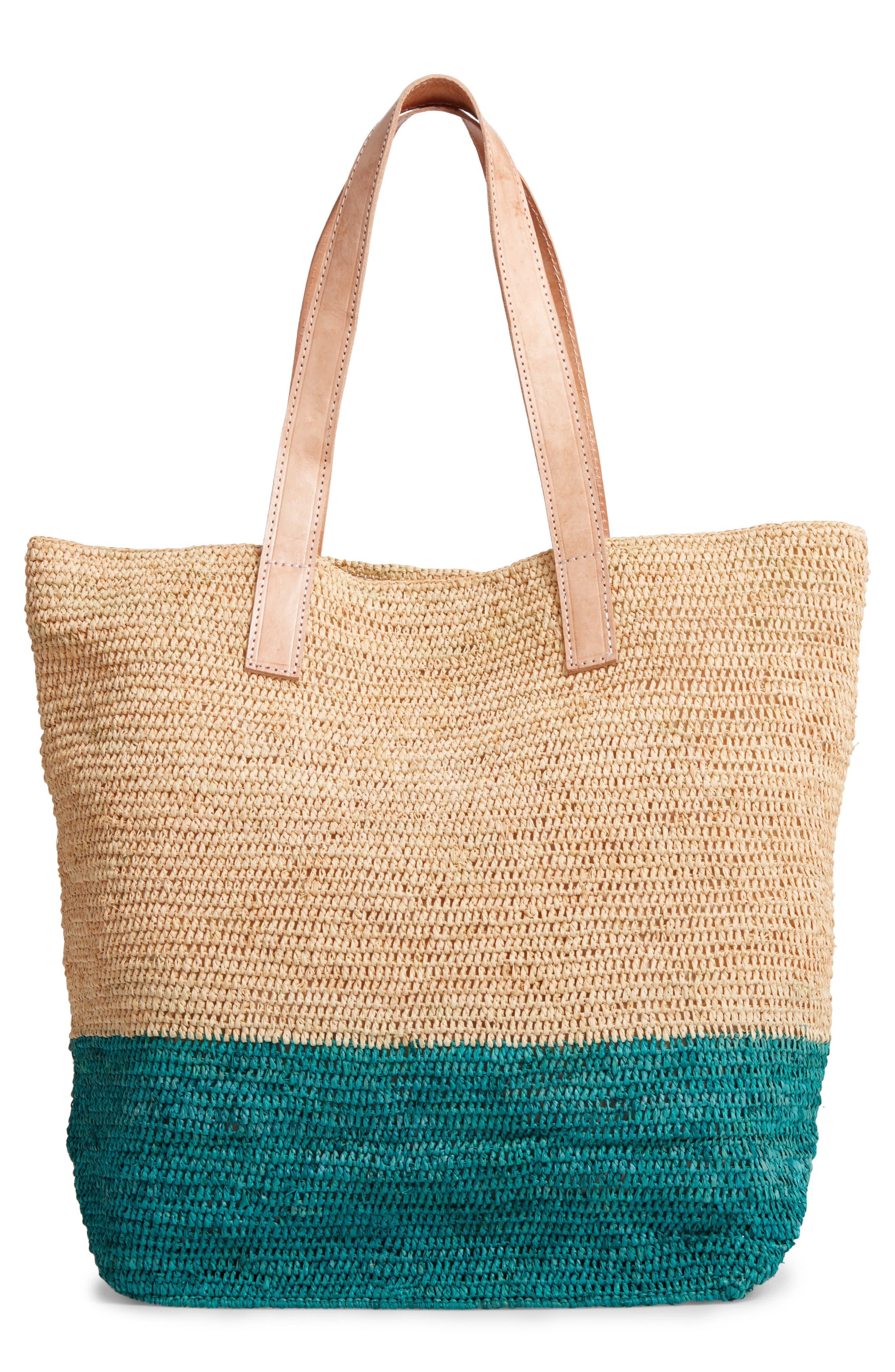 Montauk Woven Tote with Pom Charms,                             Main thumbnail 1, color,                             401