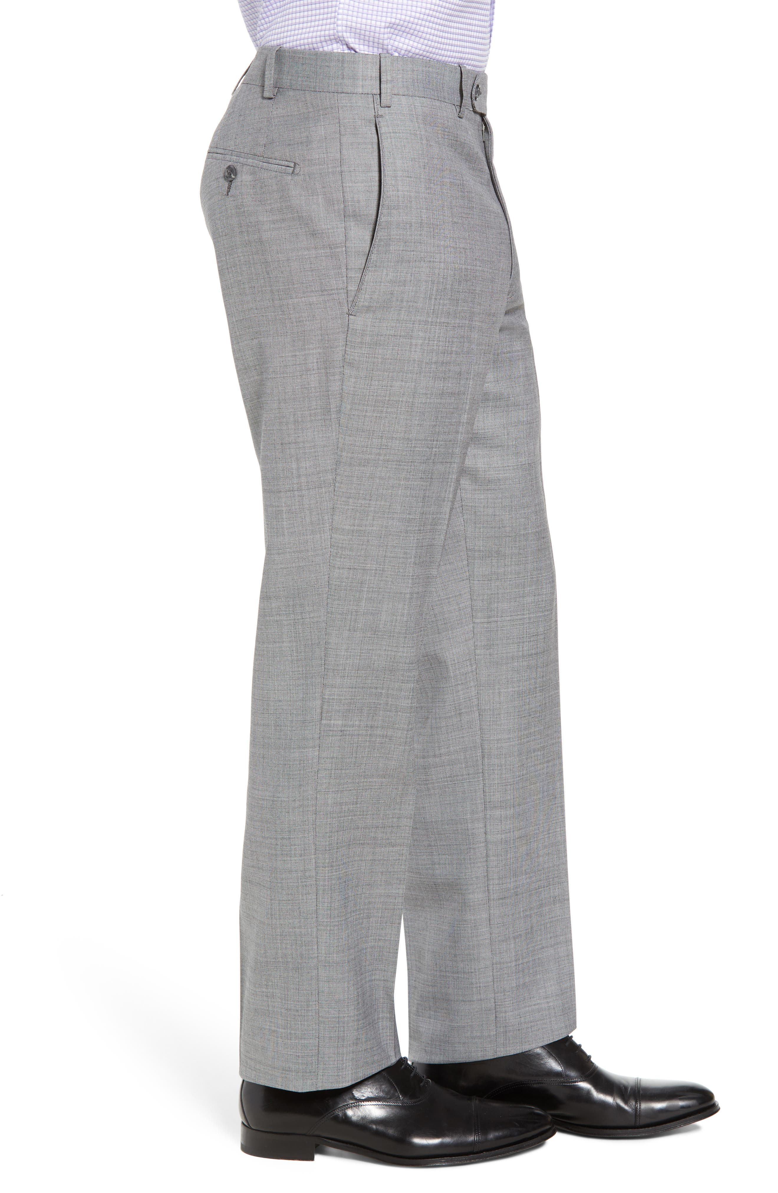 Torino Flat Front Solid Wool Trousers,                             Alternate thumbnail 8, color,
