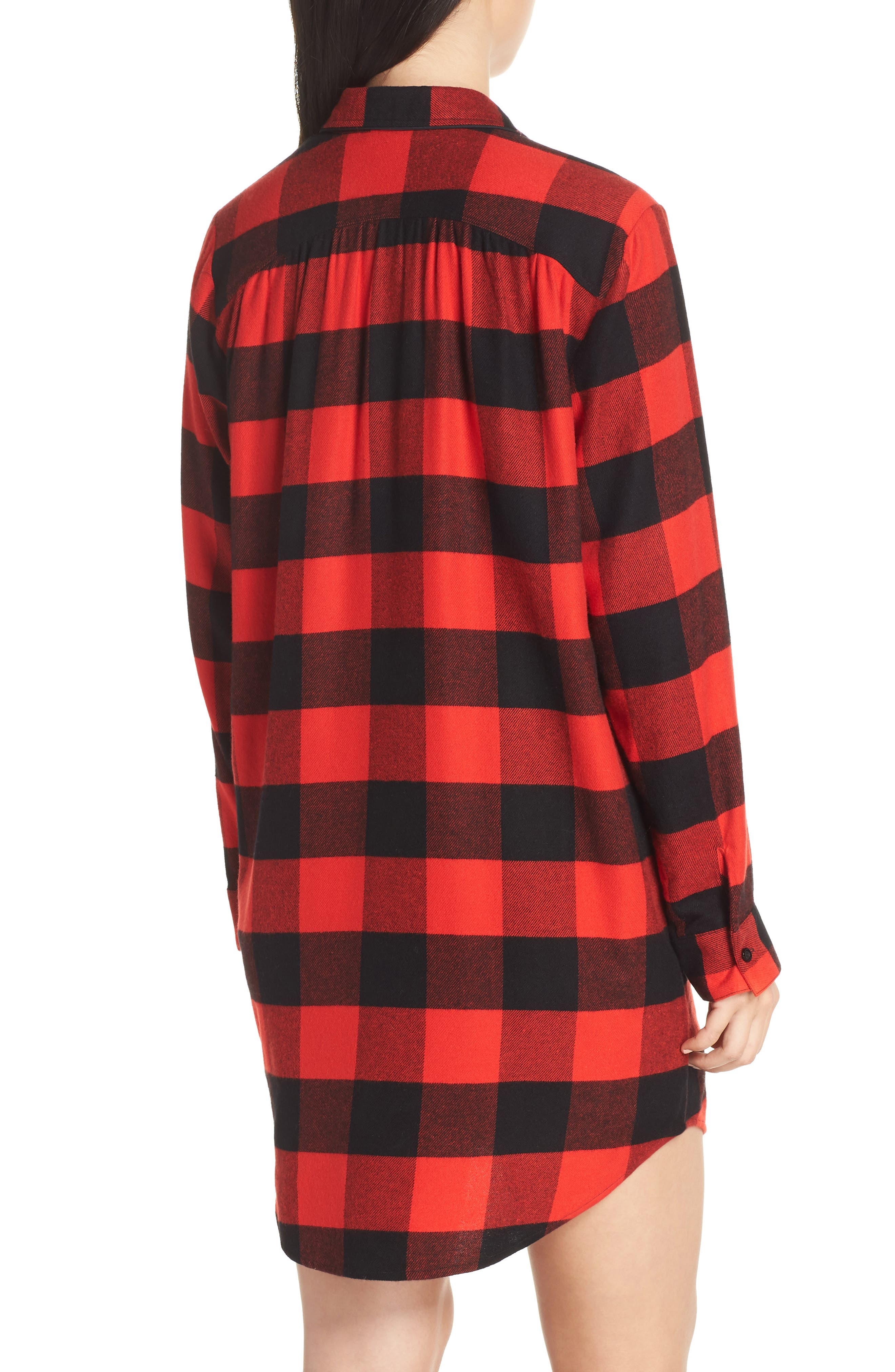 Flannel Nightshirt,                             Alternate thumbnail 2, color,                             RED BLOOM LARGE BUFFALO CHECK