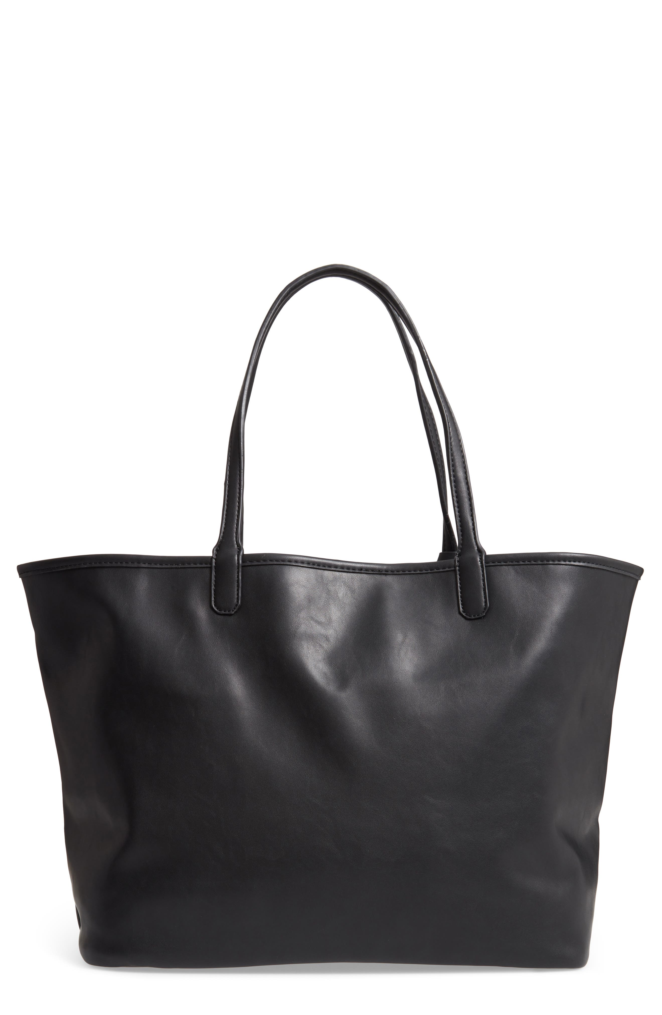 Tina Leopard Print & Vegan Leather Reversible Tote, Main, color, BLACK/ LEOPARD