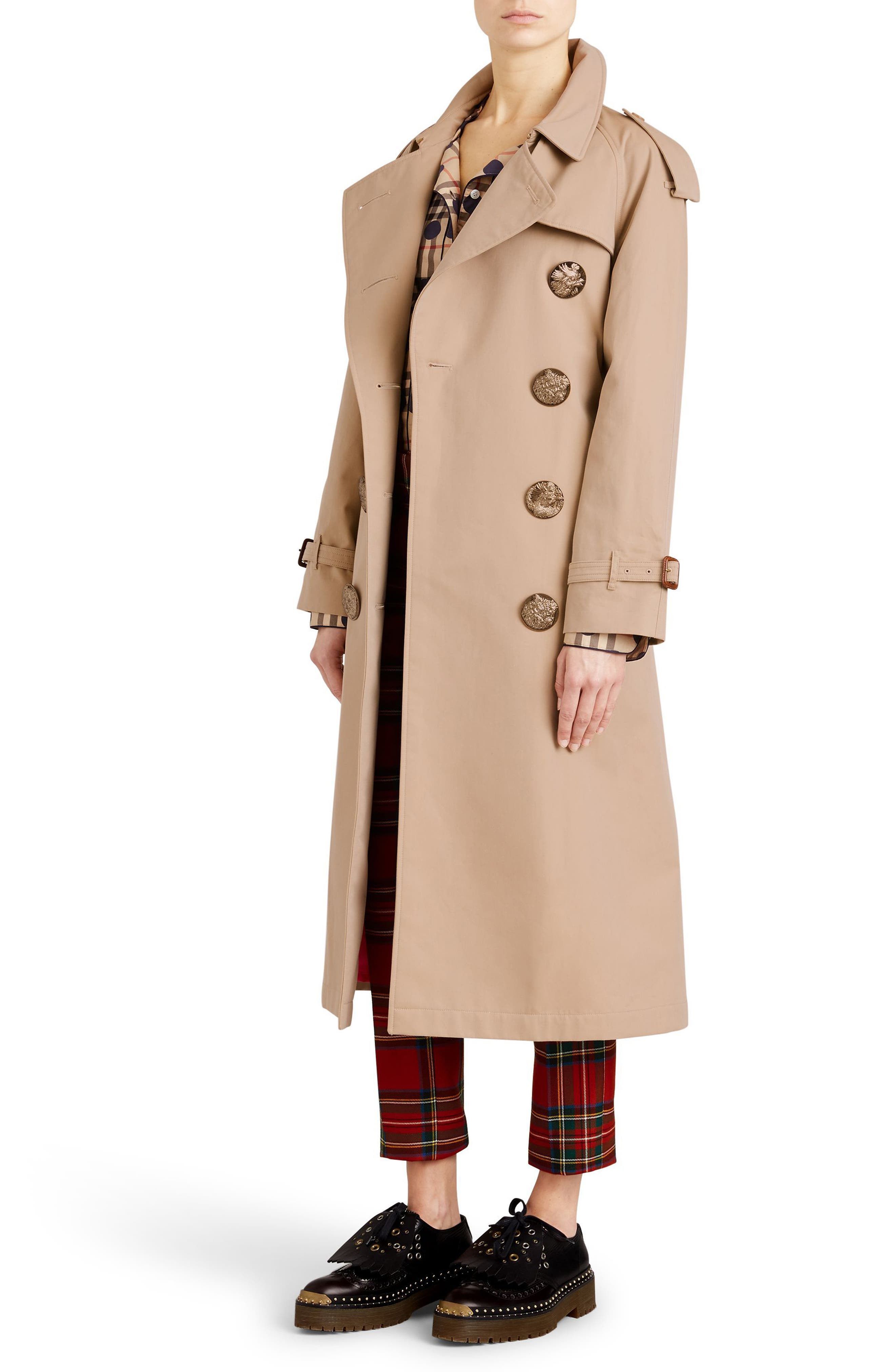 Eastheath Bird Button Cotton Trench Coat,                             Alternate thumbnail 3, color,