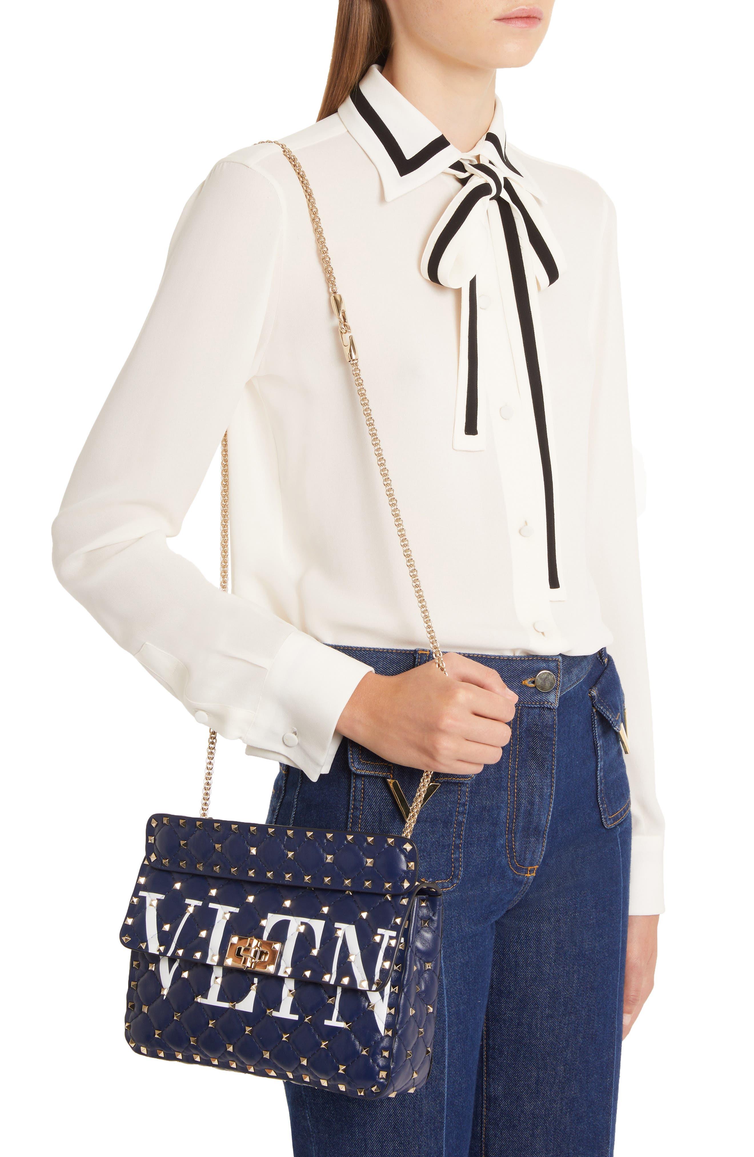 Medium Spike.It VLTN Logo Leather Shoulder Bag,                             Alternate thumbnail 2, color,                             PURE BLUE/ BIANCO OTTICO