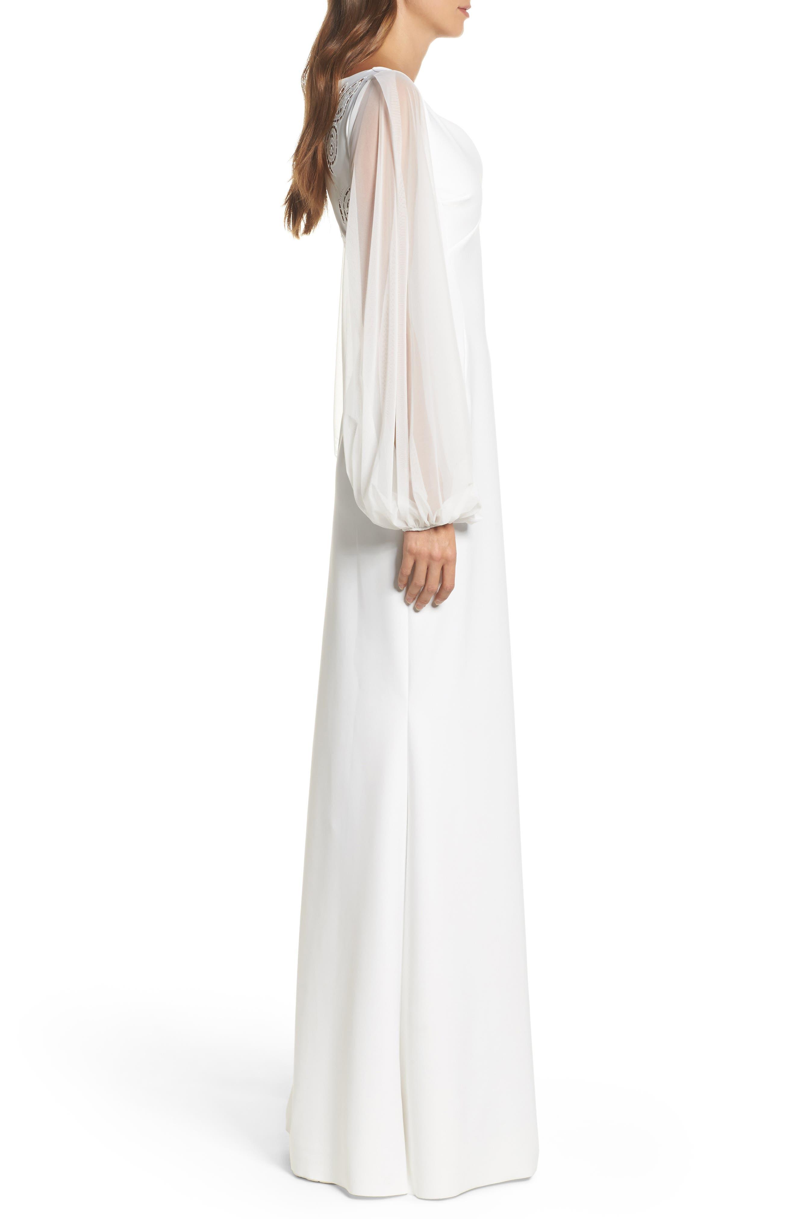 Dress Cutwork Back Gown,                             Alternate thumbnail 3, color,                             100