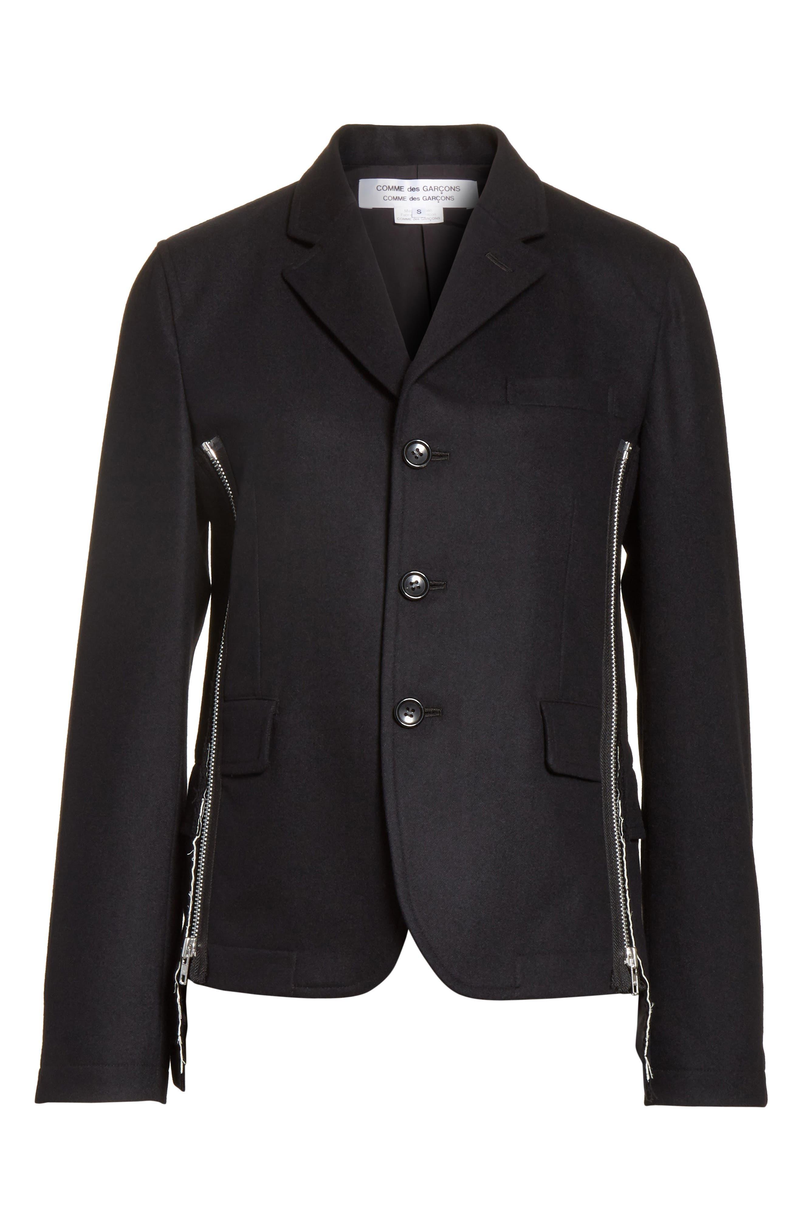 Zip Detail Wool Jacket,                             Alternate thumbnail 5, color,