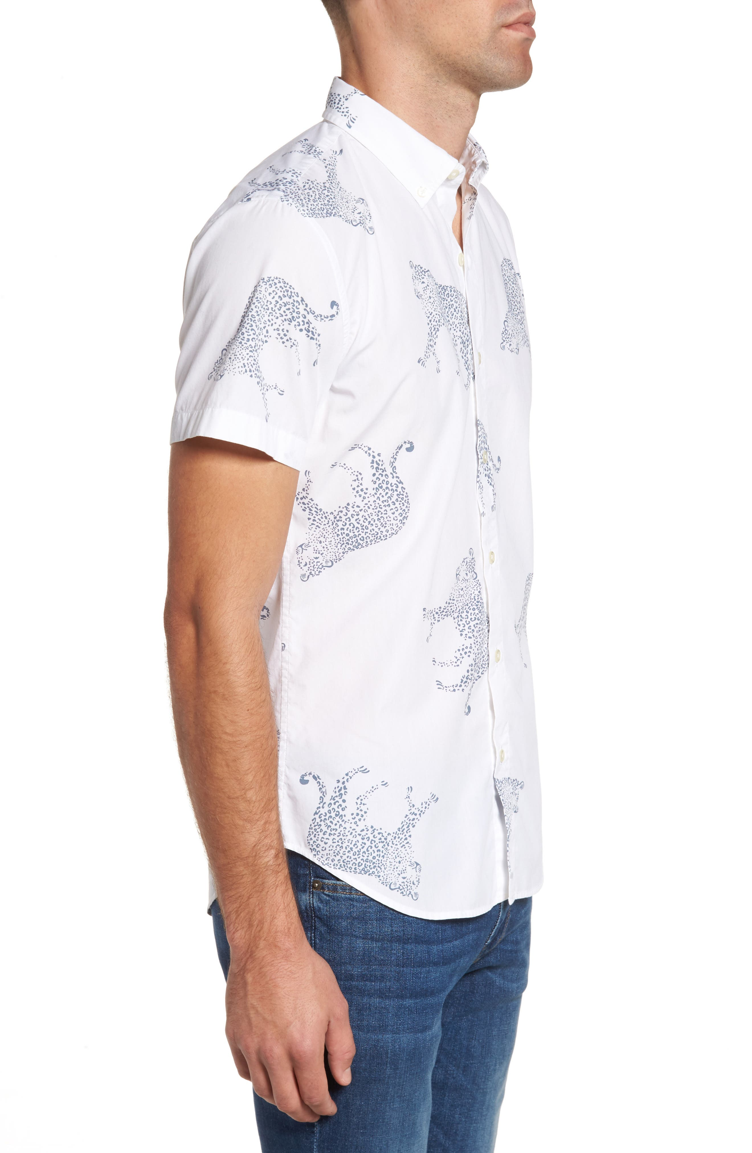 Slim Fit Cheetah Print Sport Shirt,                             Alternate thumbnail 3, color,