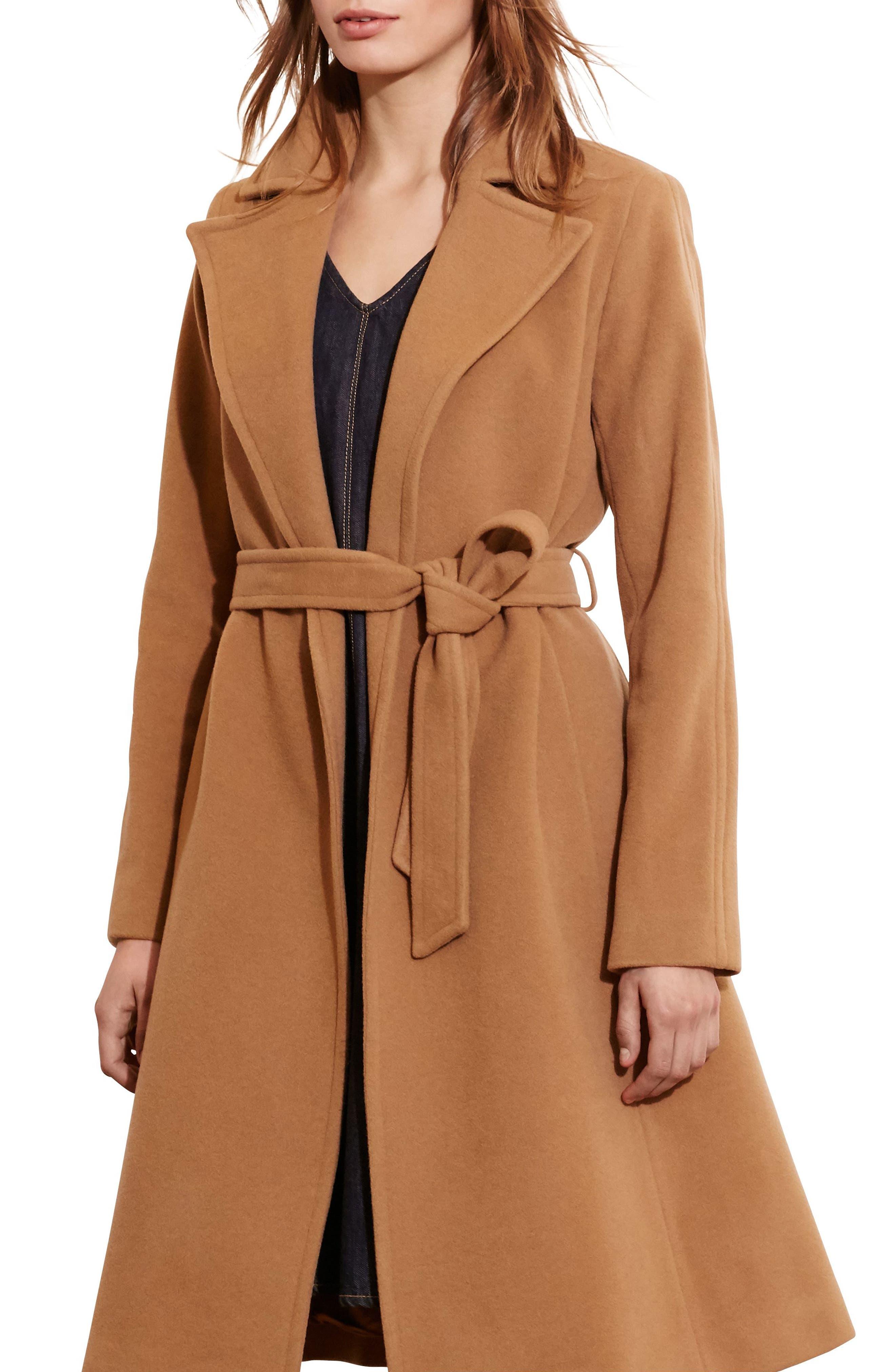 LAUREN RALPH LAUREN Wool Blend Wrap Coat, Main, color, 256