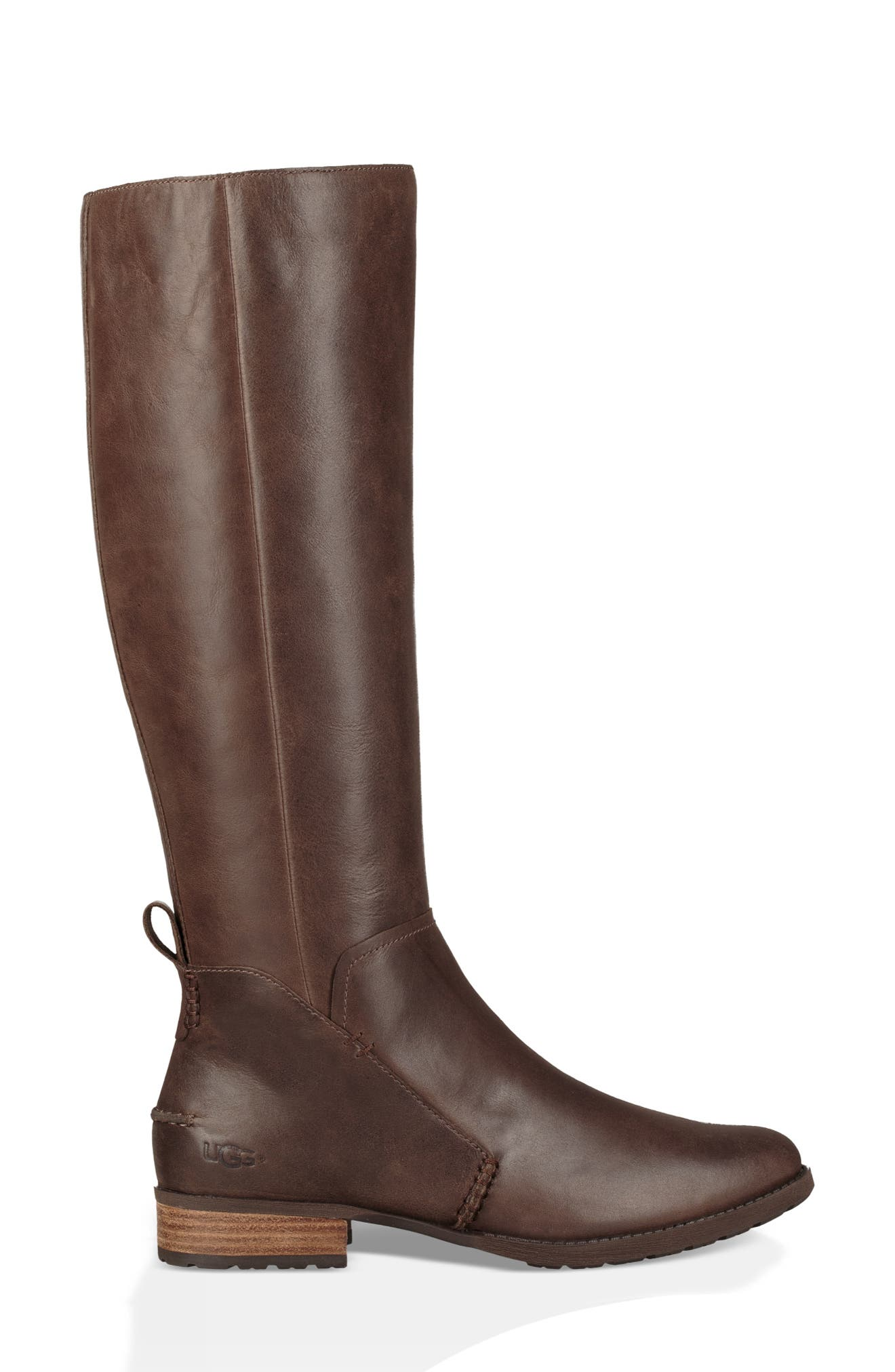Leigh Knee High Riding Boot,                             Alternate thumbnail 3, color,                             DARK BROWN LEATHER
