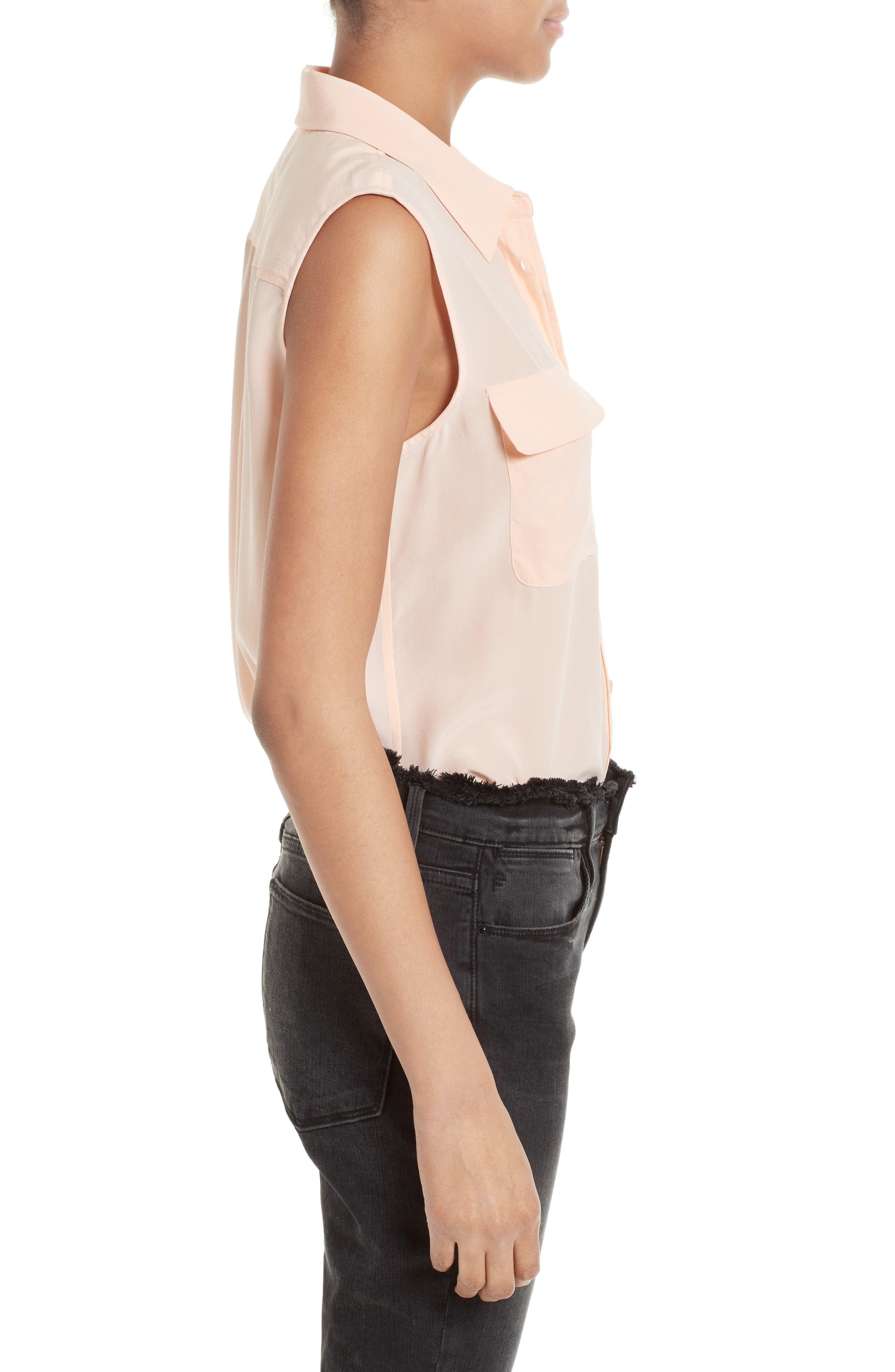 'Slim Signature' Sleeveless Silk Shirt,                             Alternate thumbnail 60, color,
