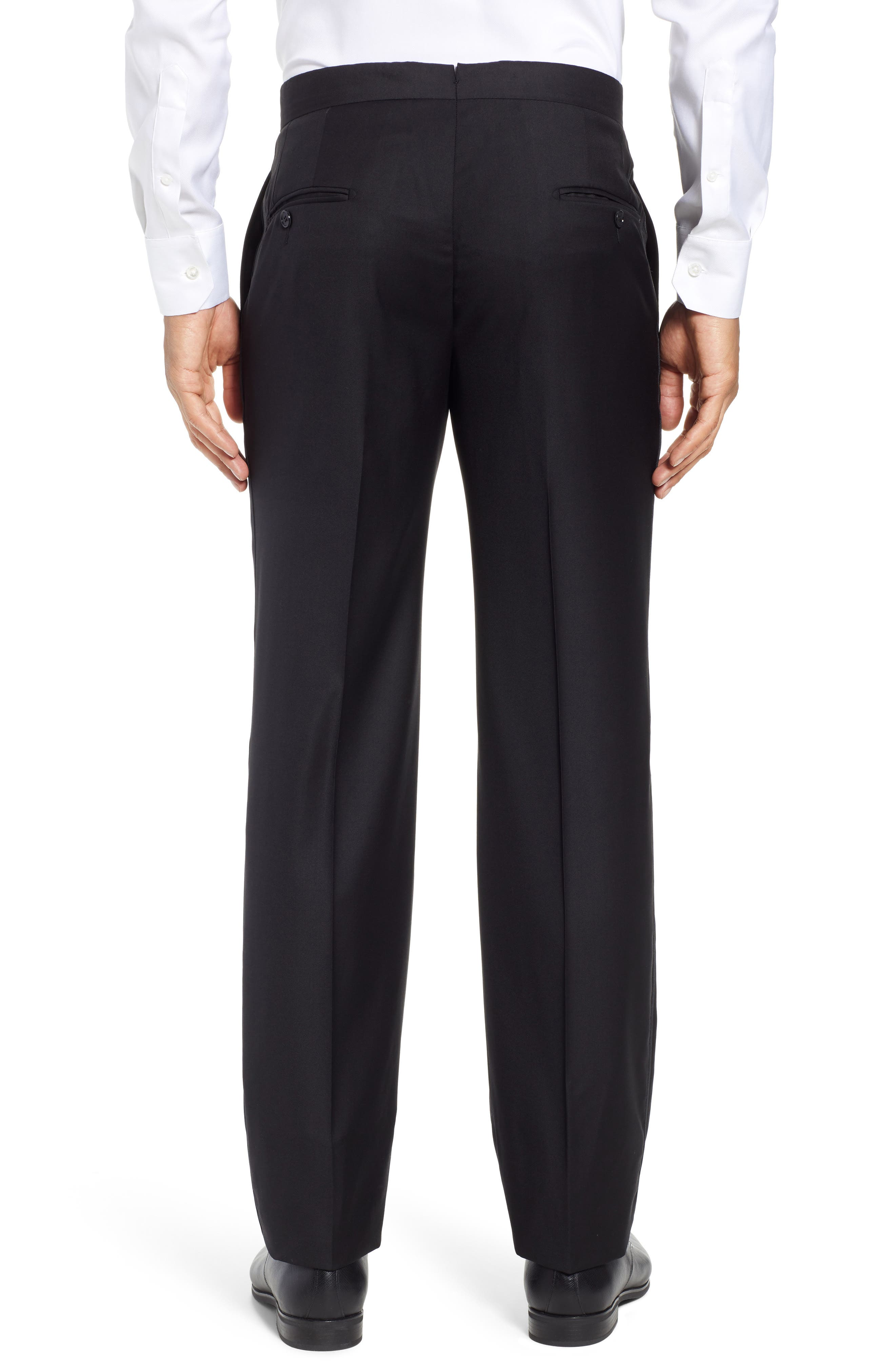 Classic B Fit Flat Front Solid Wool Trousers,                             Alternate thumbnail 2, color,                             BLACK SOLID