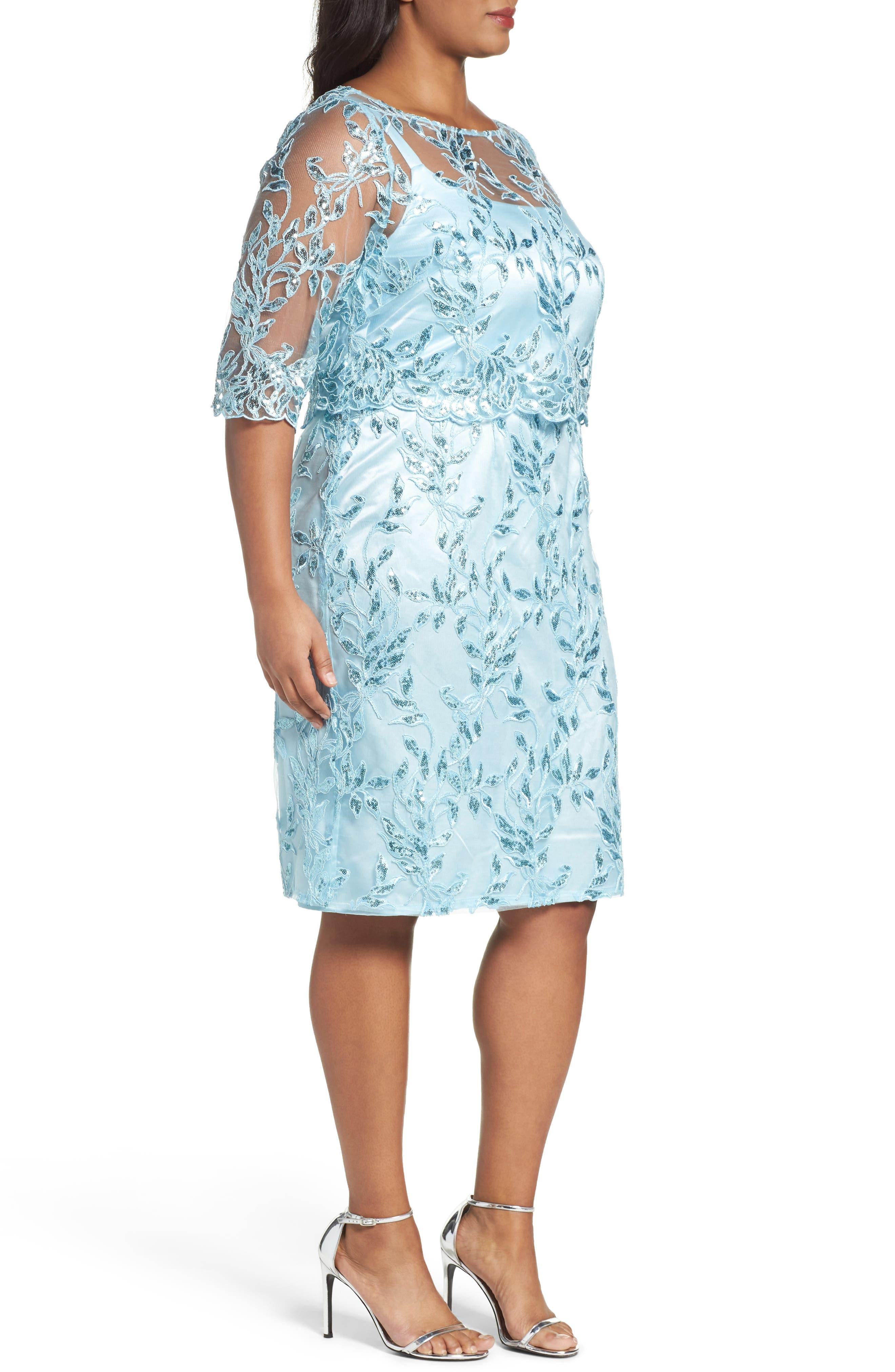 Embellished Embroidered Popover Dress,                             Alternate thumbnail 3, color,                             420