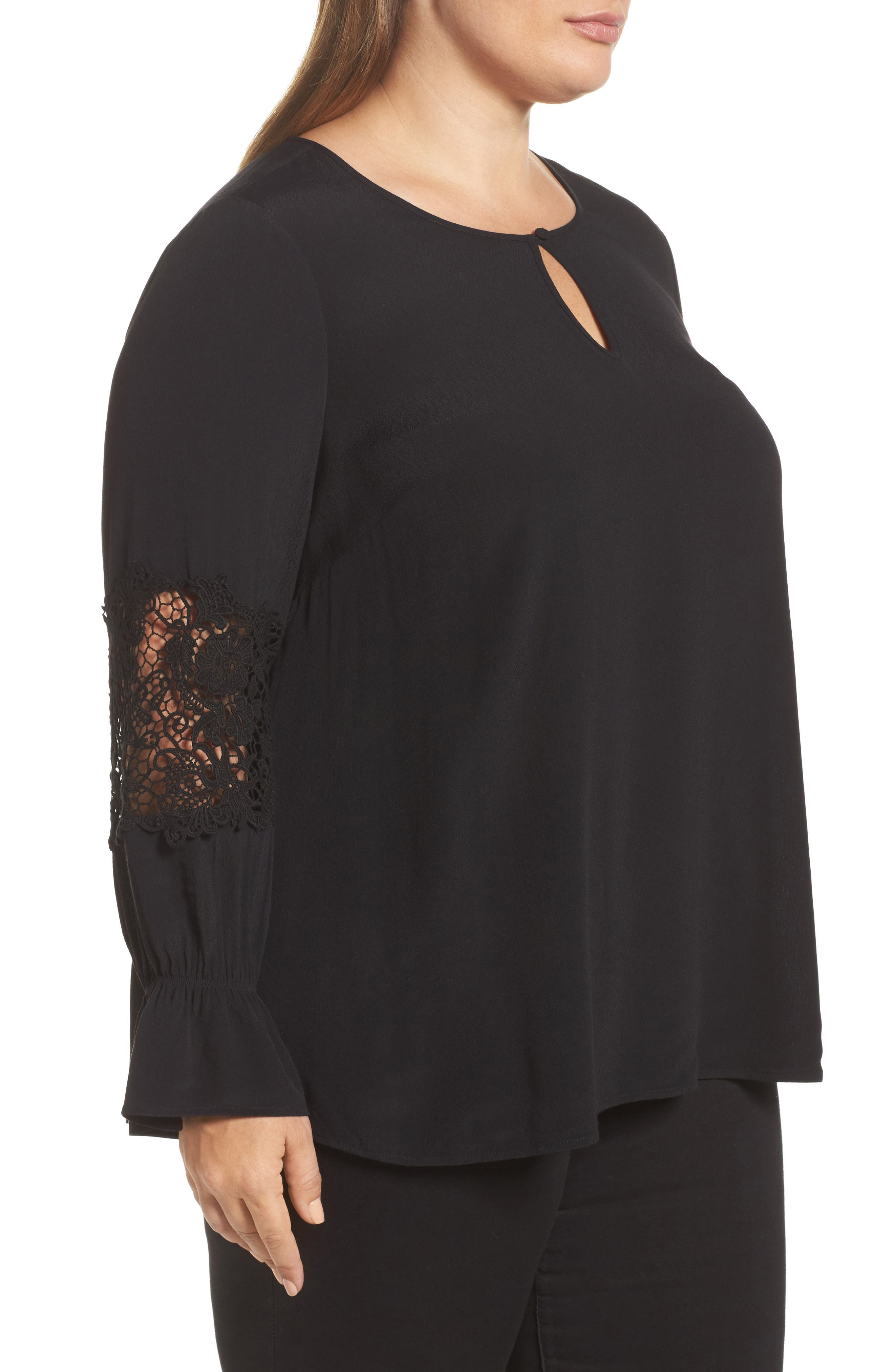 Bell Sleeve Lace Top,                             Alternate thumbnail 3, color,                             002