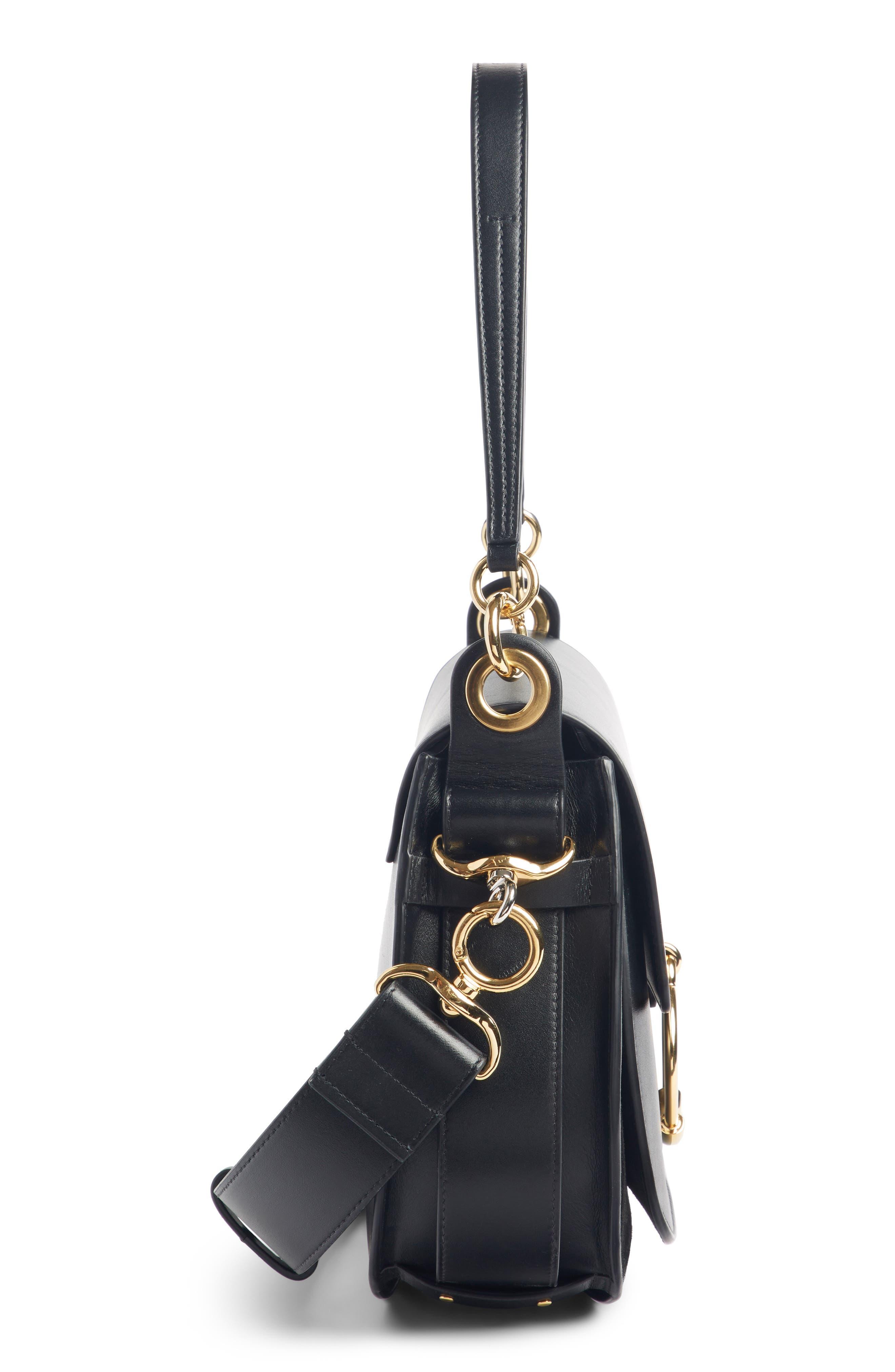 CHLOÉ,                             Medium Tess Calfskin Leather Shoulder Bag,                             Alternate thumbnail 4, color,                             BLACK