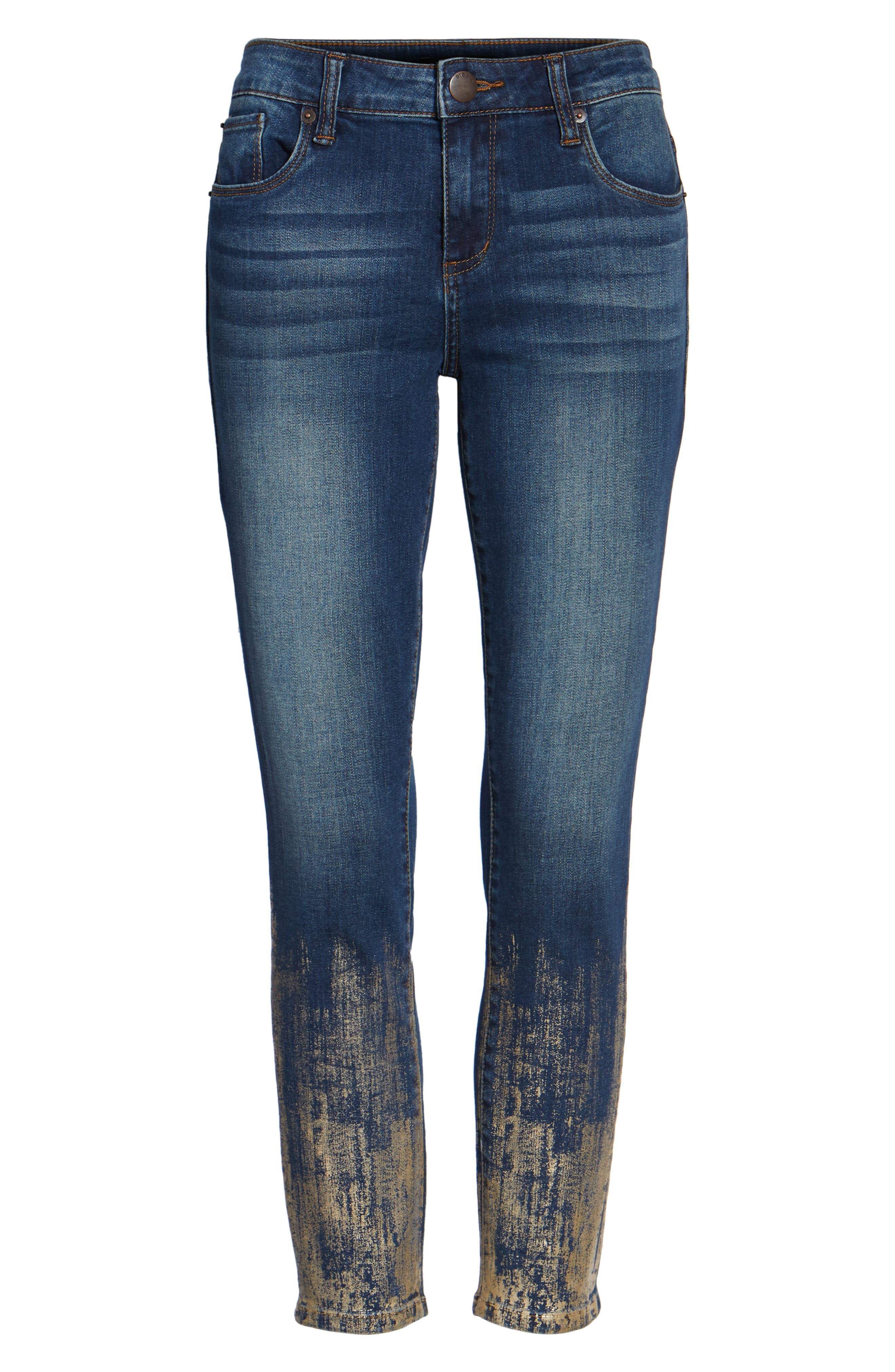 Piper Foil Crop Skinny Jeans,                             Alternate thumbnail 6, color,                             400