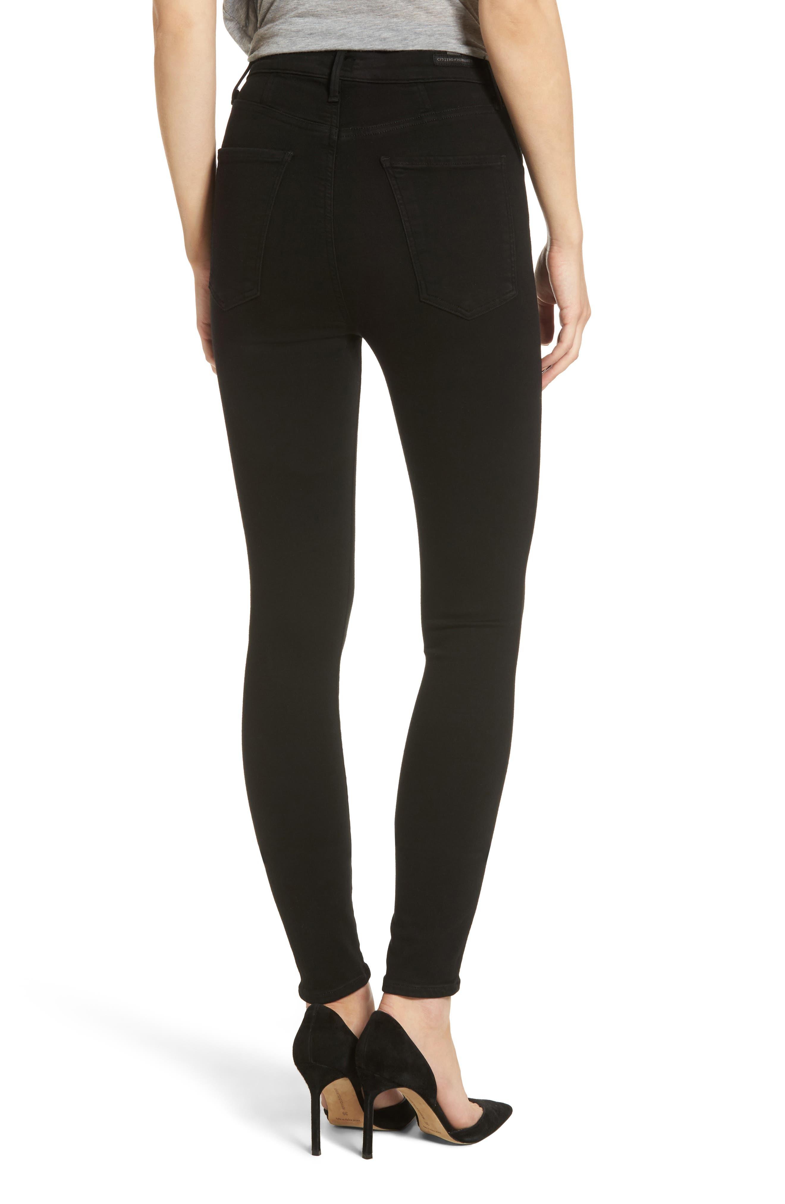 Chrissy High Waist Skinny Jeans,                             Alternate thumbnail 2, color,                             ALL BLACK