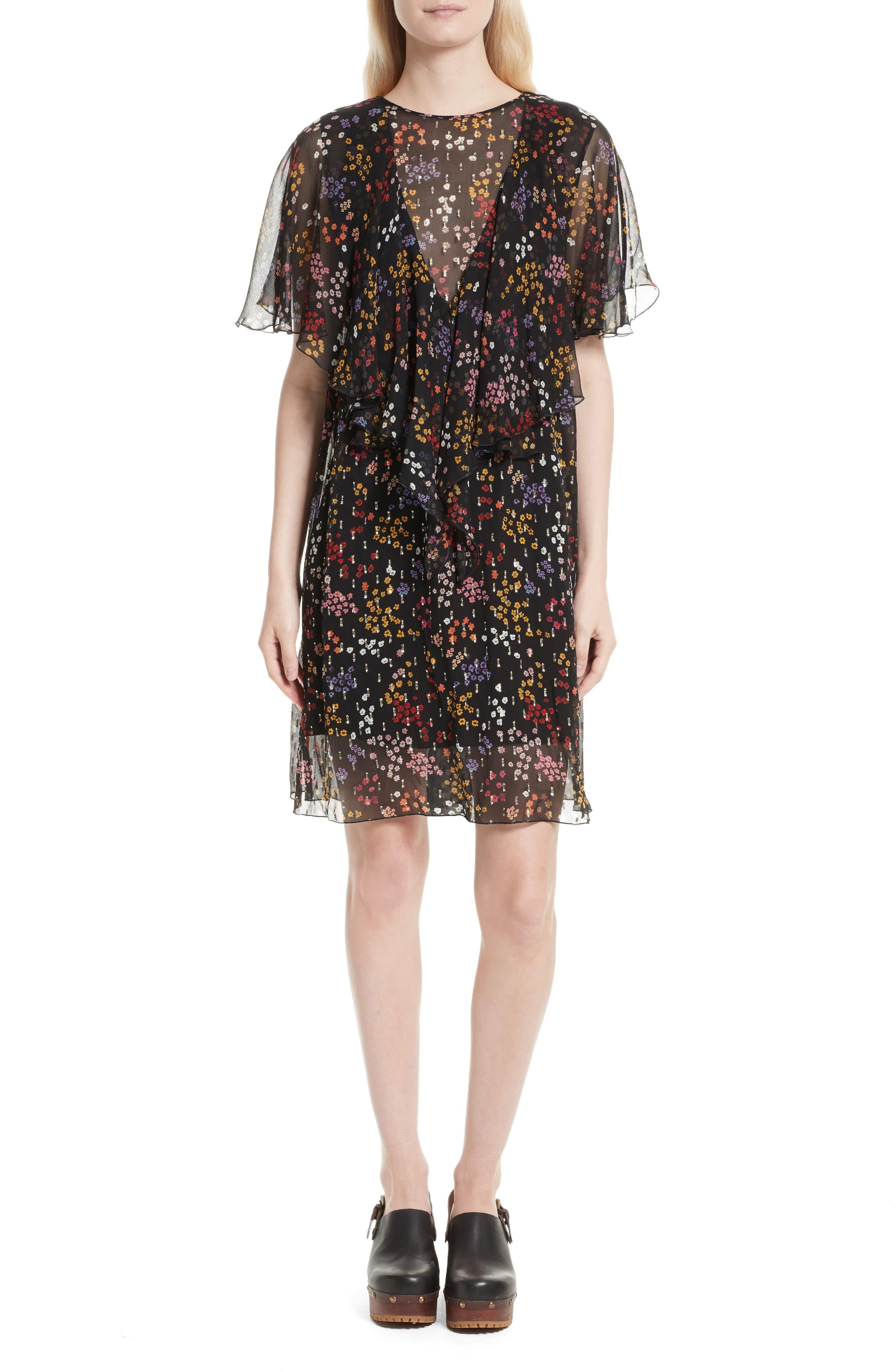 Floral Fil Coupé Silk Dress,                             Main thumbnail 1, color,                             001