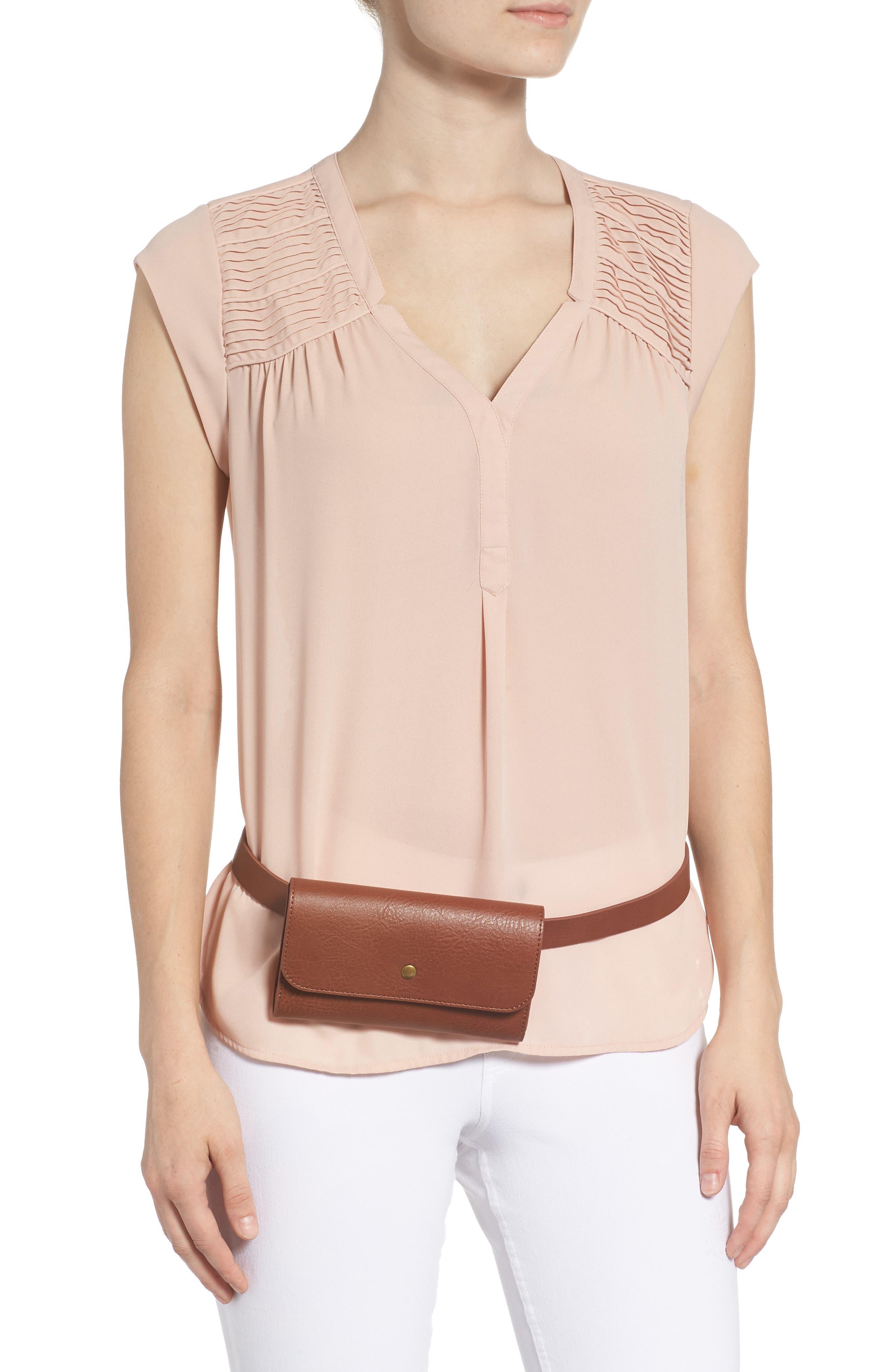 Faux Leather Belt Bag,                             Alternate thumbnail 2, color,                             COGNAC