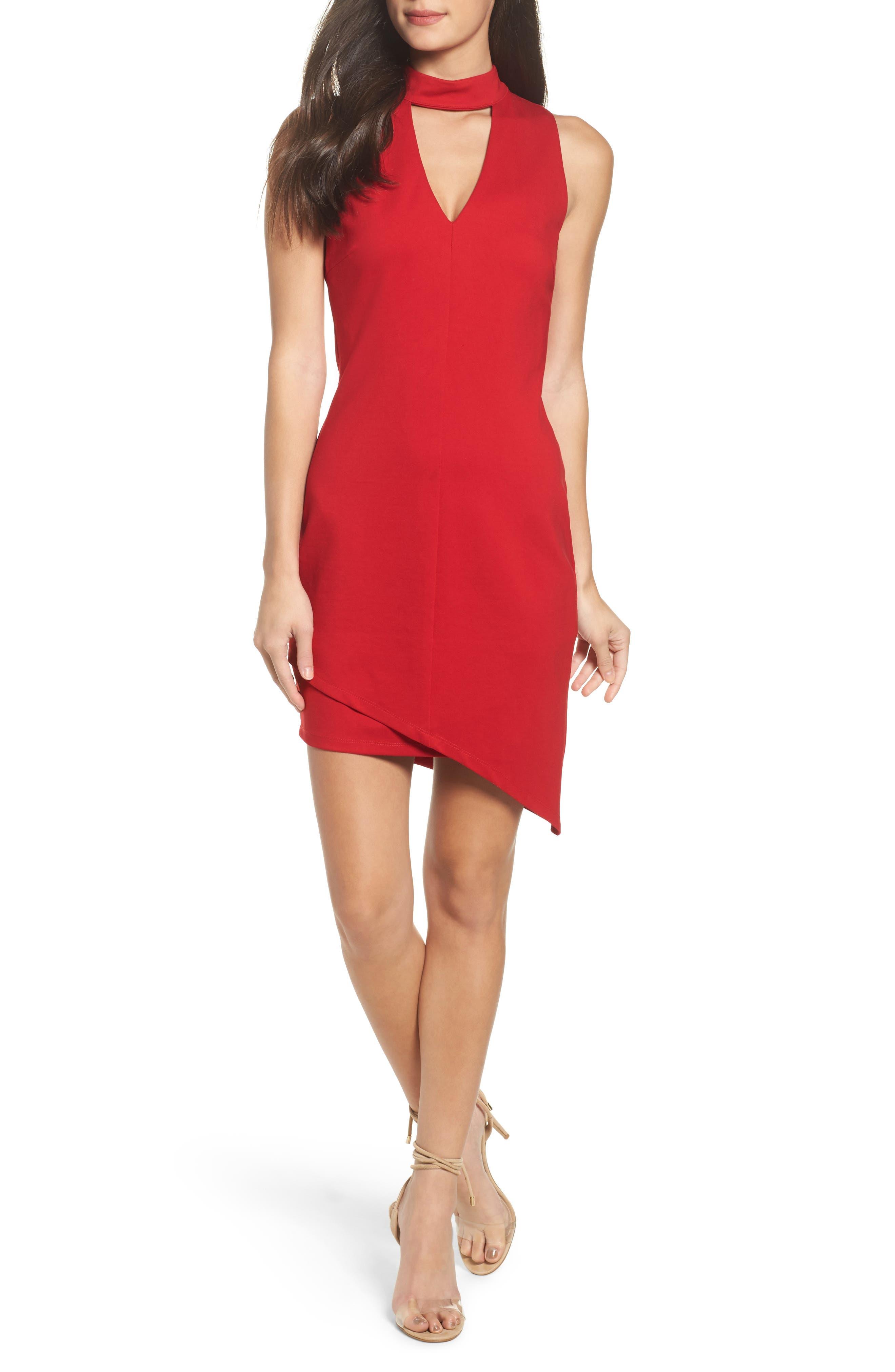 Choker Asymmetrical Body-Con Dress,                         Main,                         color,